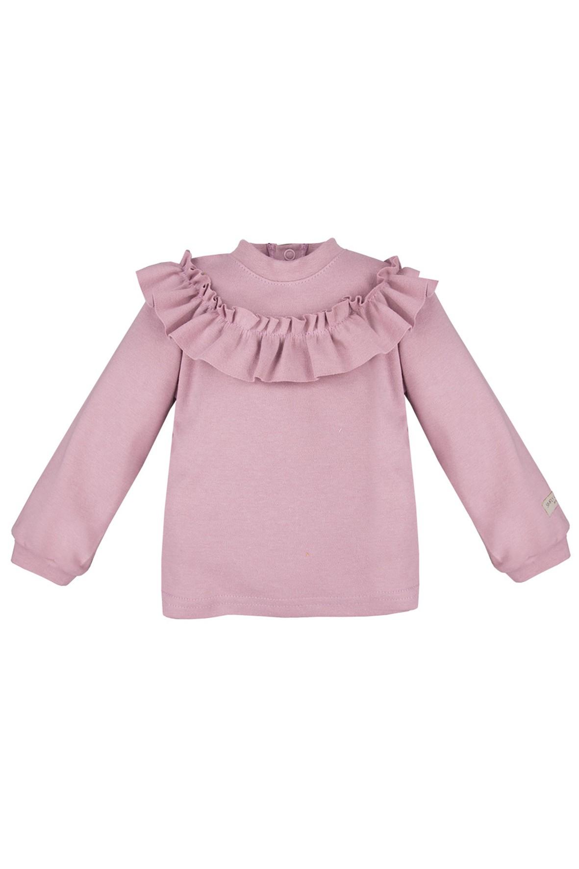 Bawełniana bluzka z falbanką - wrzosowa