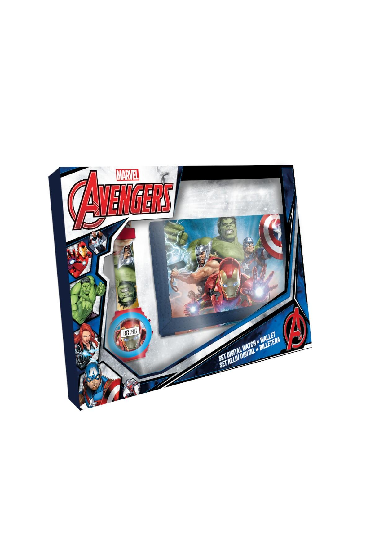Zegarek cyfrowy z portfelikiem Avengers