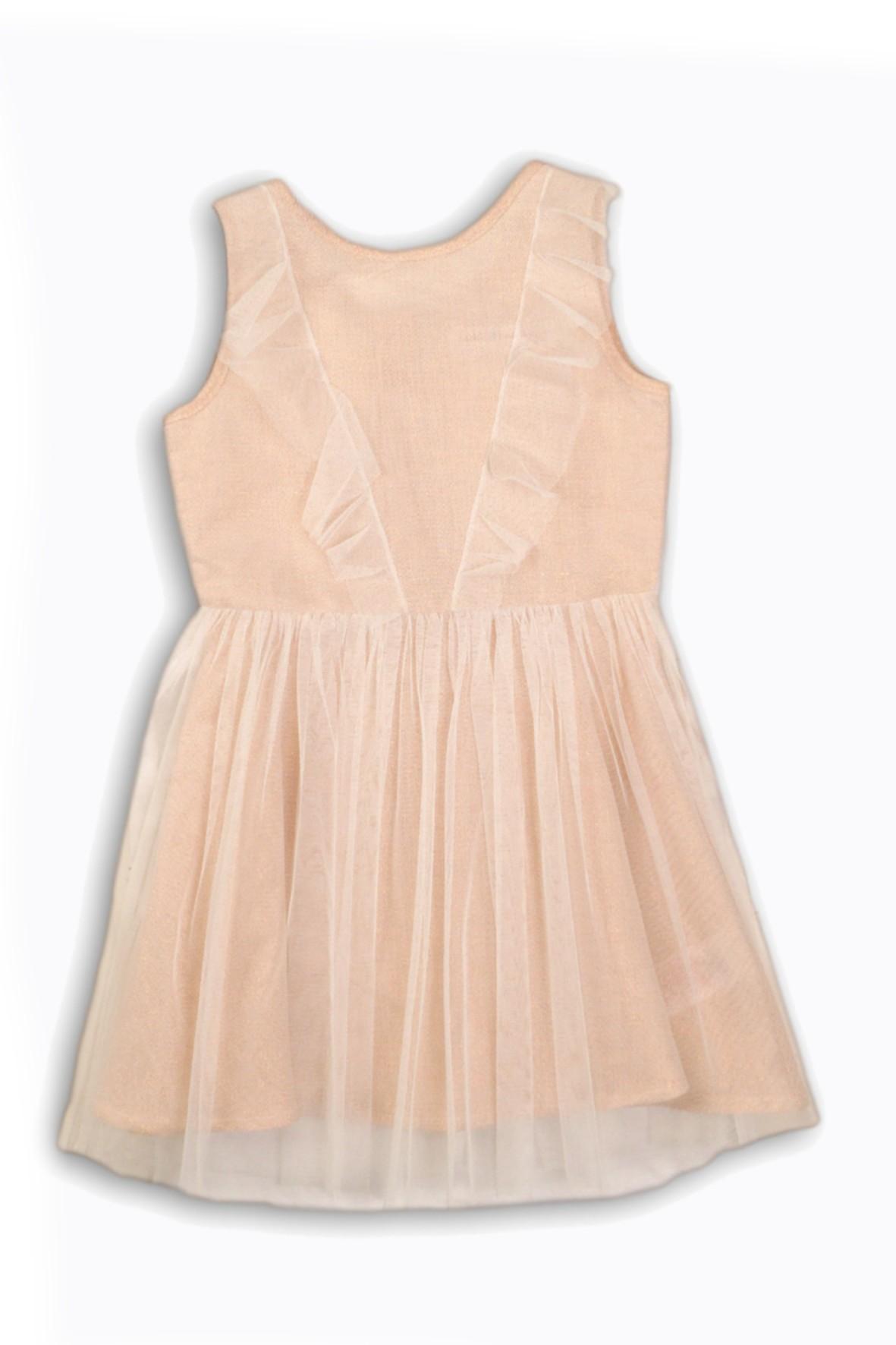 Sukienka dziewczęca z tiulową falbanką- eleganckie ubrania dla dziewczynek