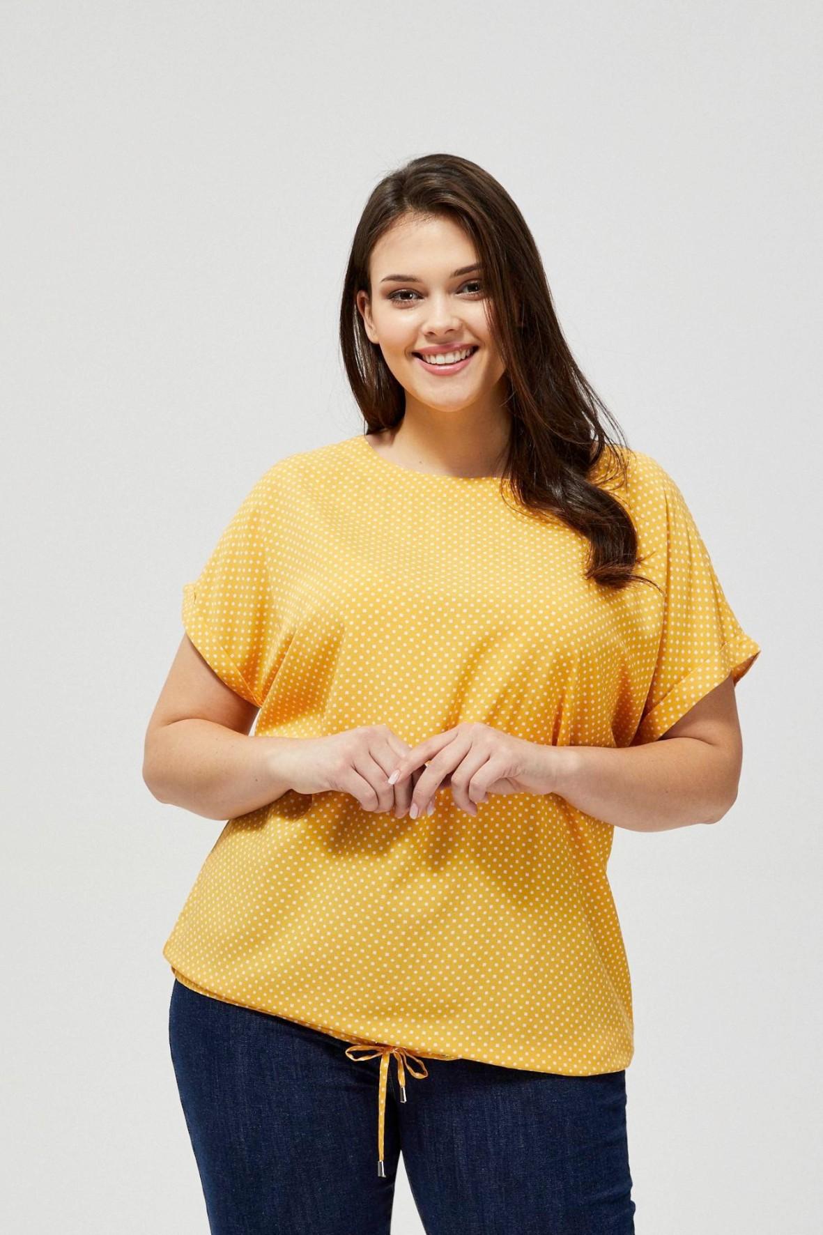 Bluzka damska koszulowa na krótki rękaw- zółta w kropki