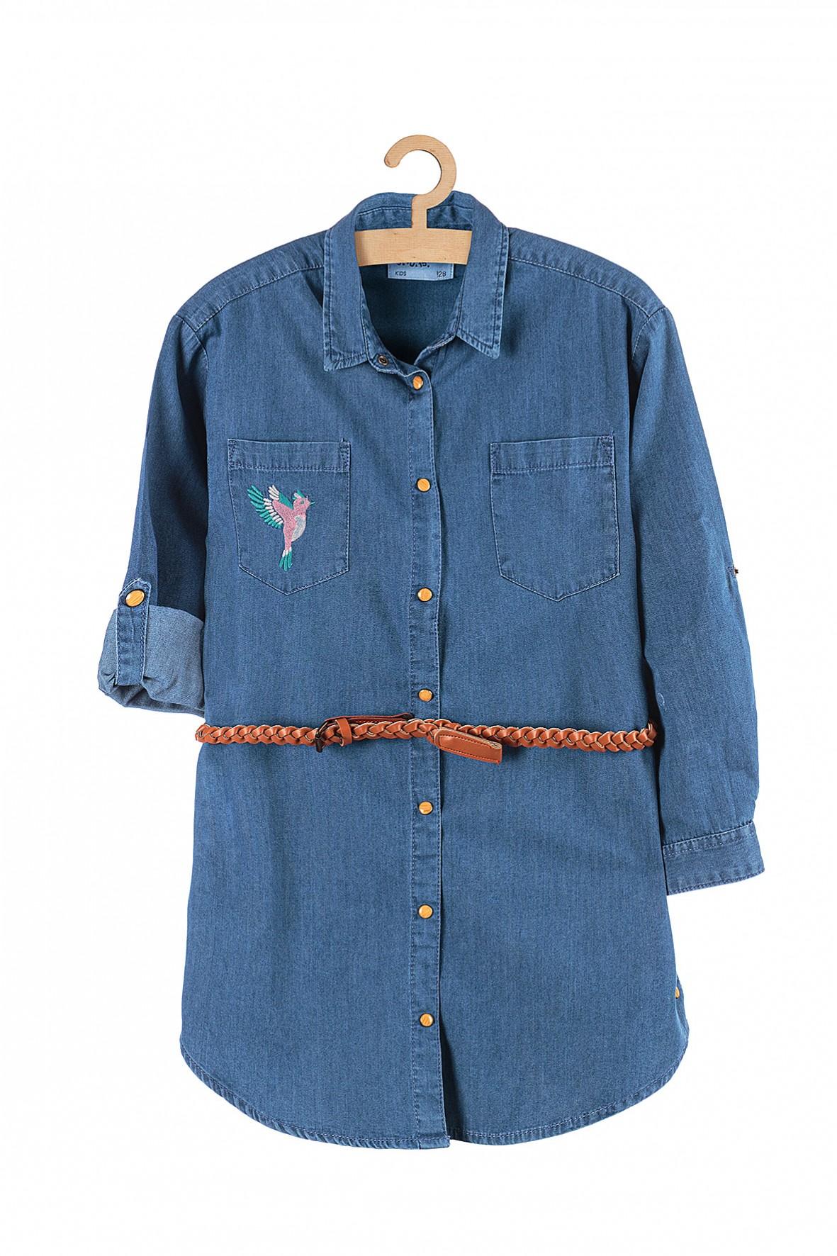 Koszula dziewczęca jeansowa z brązowym plecionym paskiem