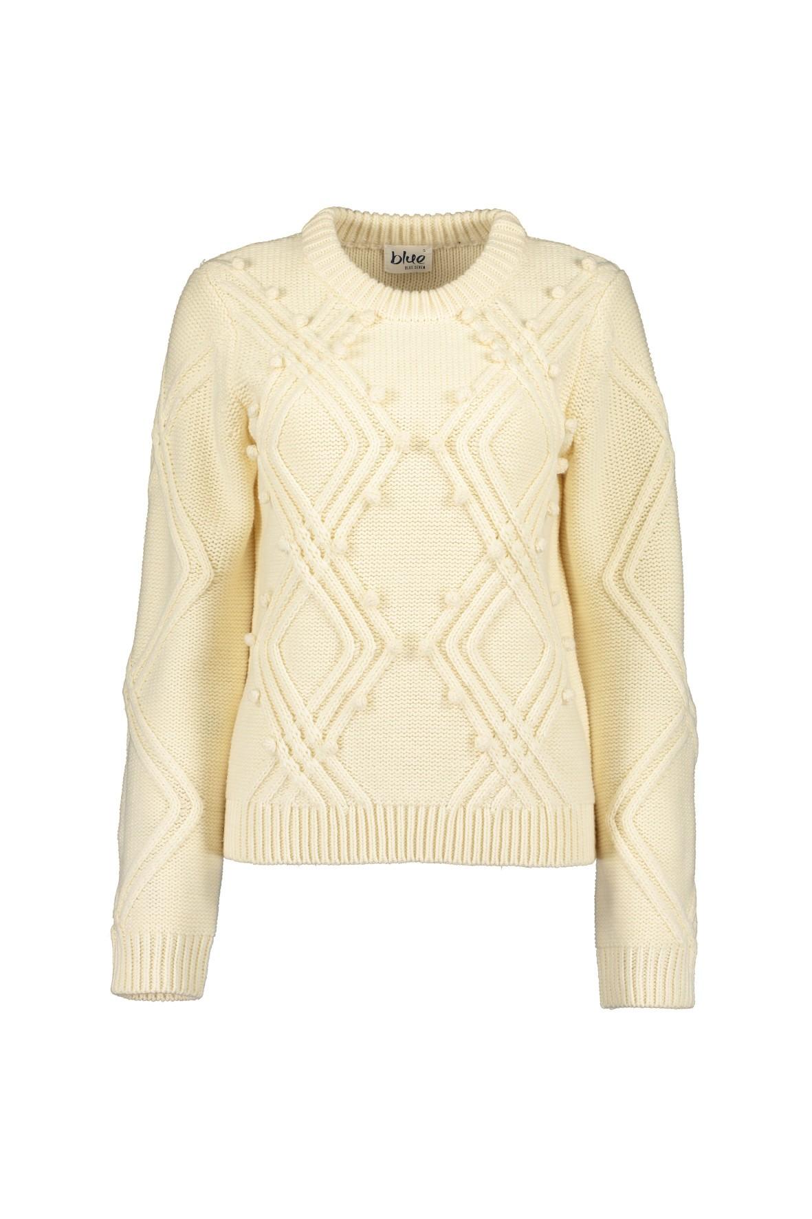 Damski sweter z dzianiny  -ecru