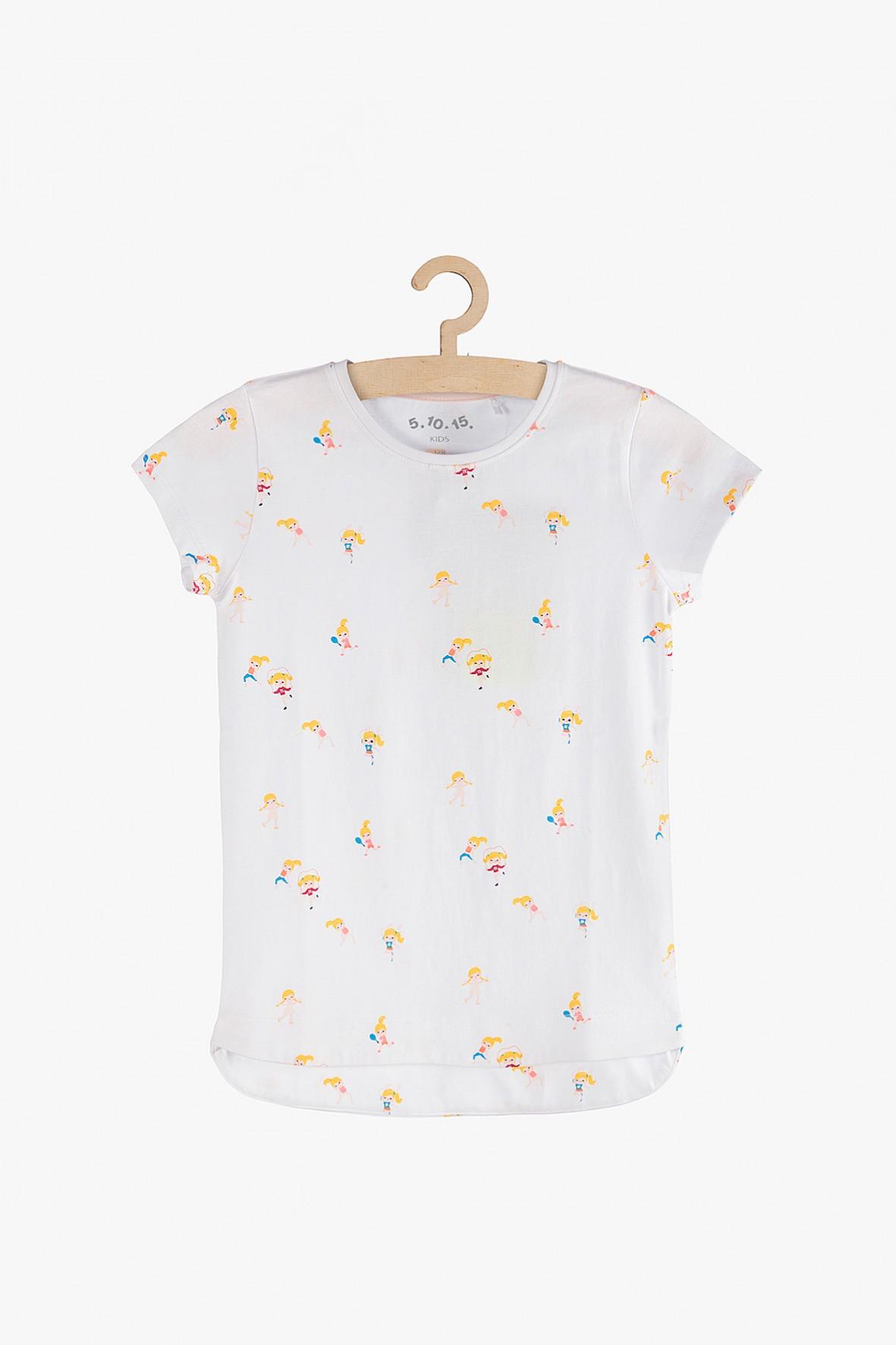 T-shirt dziewczęcy biały z kolorowymi nadrukami