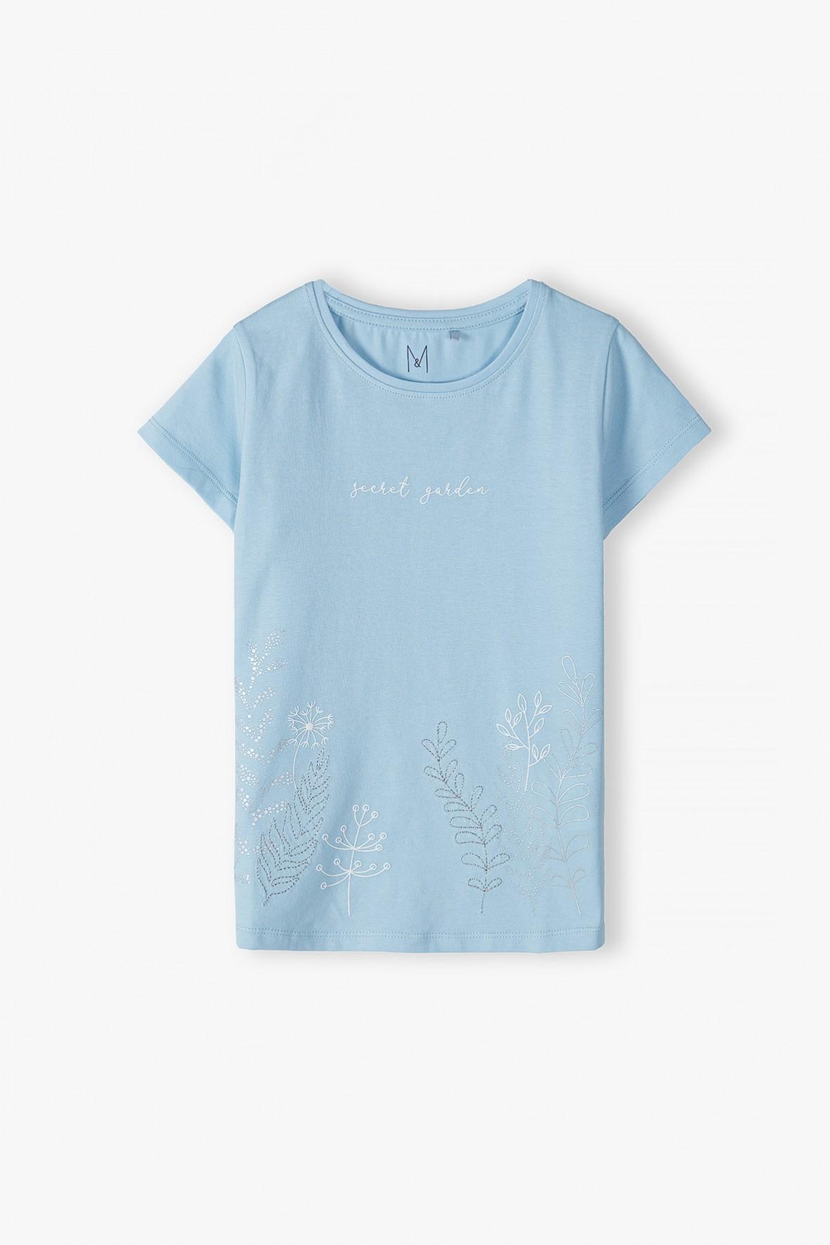 T-shirt dzianinowy z delikatnym nadrukiem