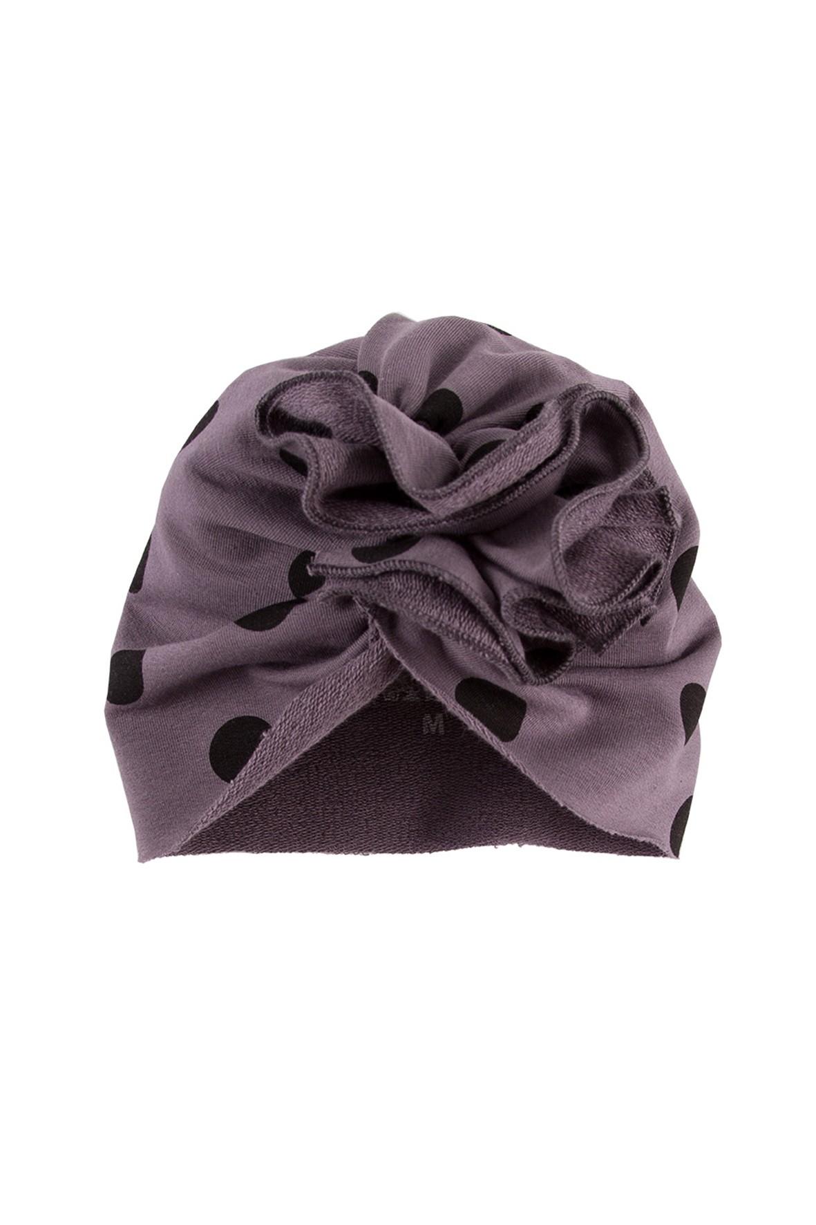 Turban niemowlęcy - czapka szara w grochy