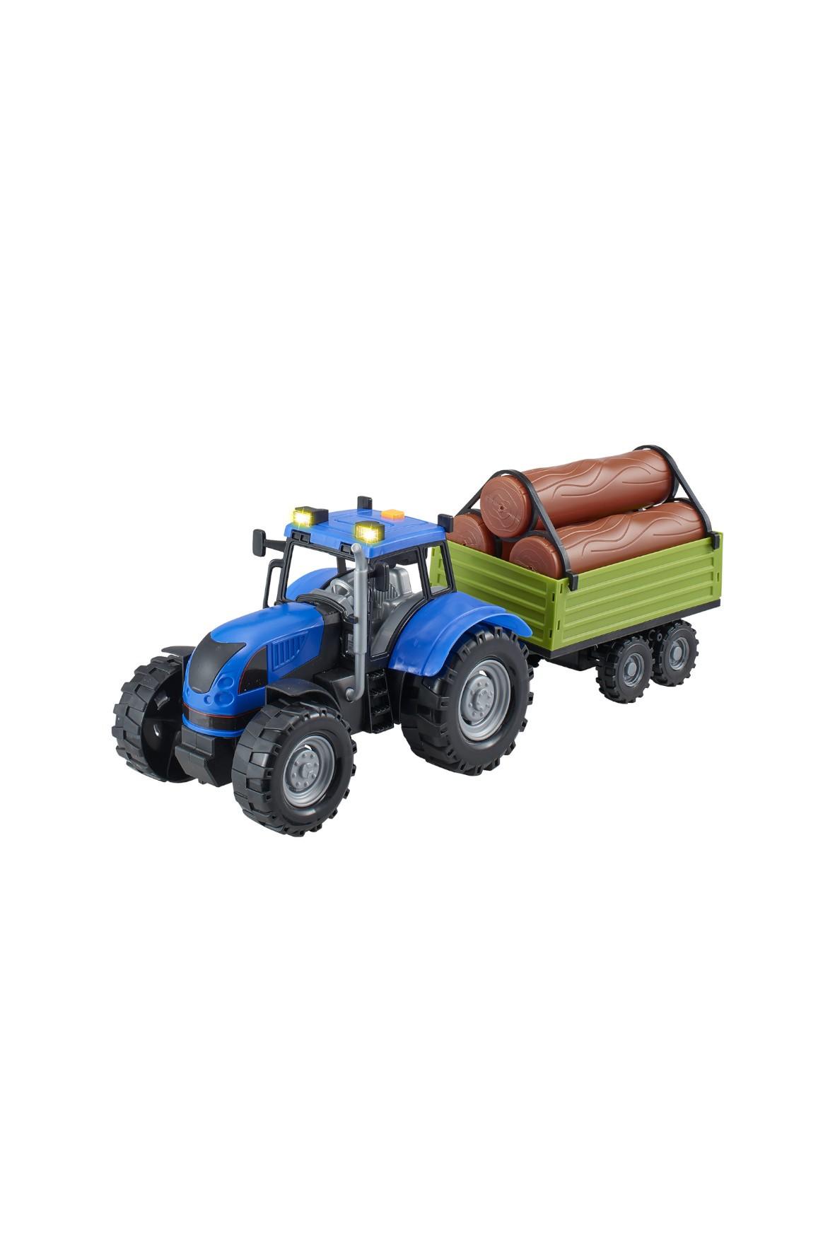 Agro pojazdy - Traktor z naczepą niebieski wiek 3+