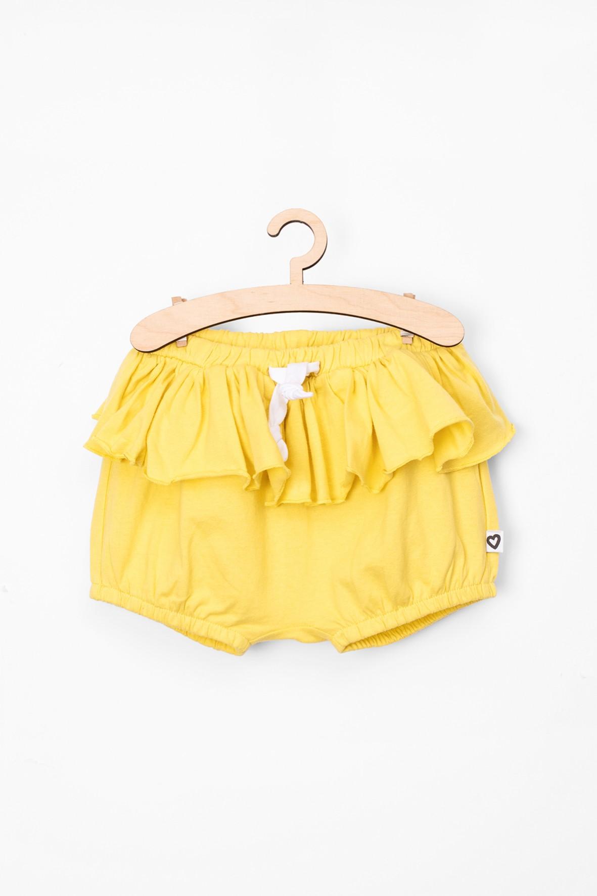 Szorty dziewczęce żółte z falbanką-bawełniane