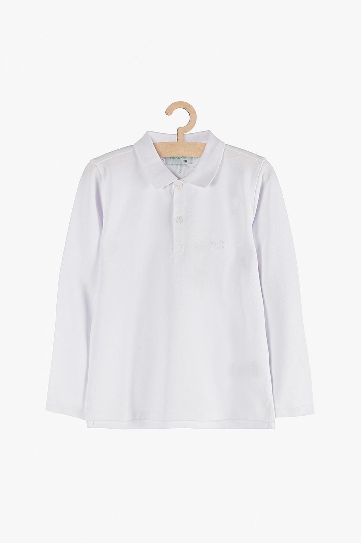 Bluzka chłopięca biała z kołnierzykiem-100% bawełna