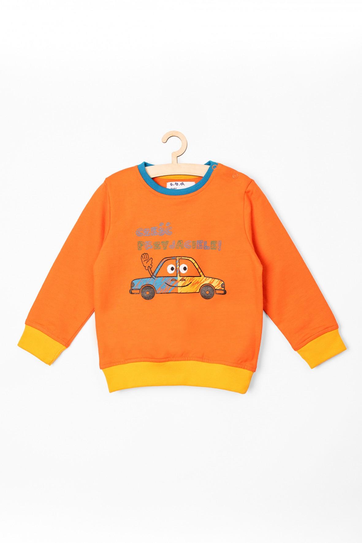 Bluza niemowlęca pomarańczowa z samochodzikiem