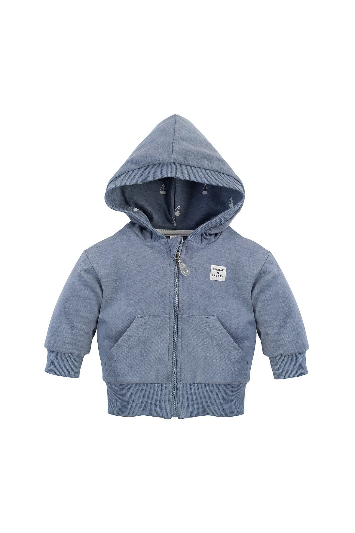 Bawełniana bluza dziecięca, z szarej dresówki, zapinana na całej długości na bezpieczny suwak