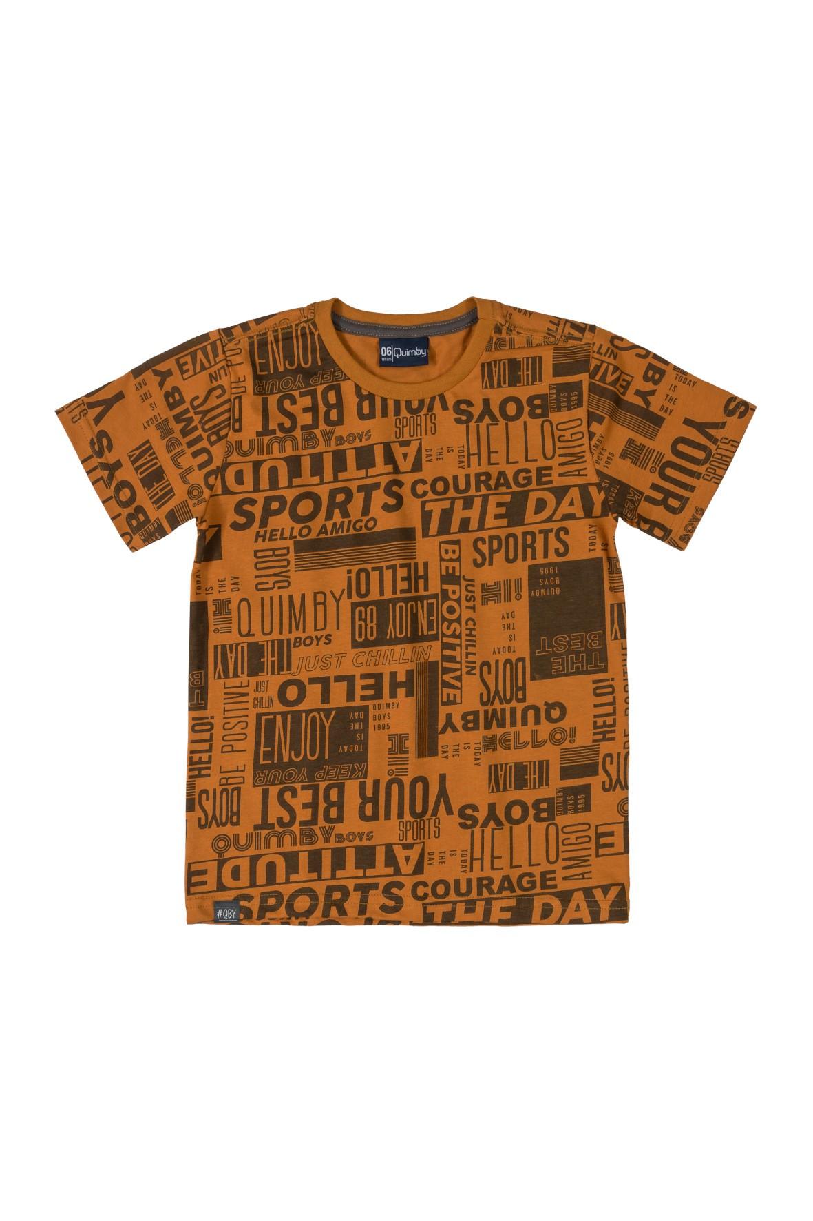 Brązowy t-shirt chłopięcy z nadrukiem
