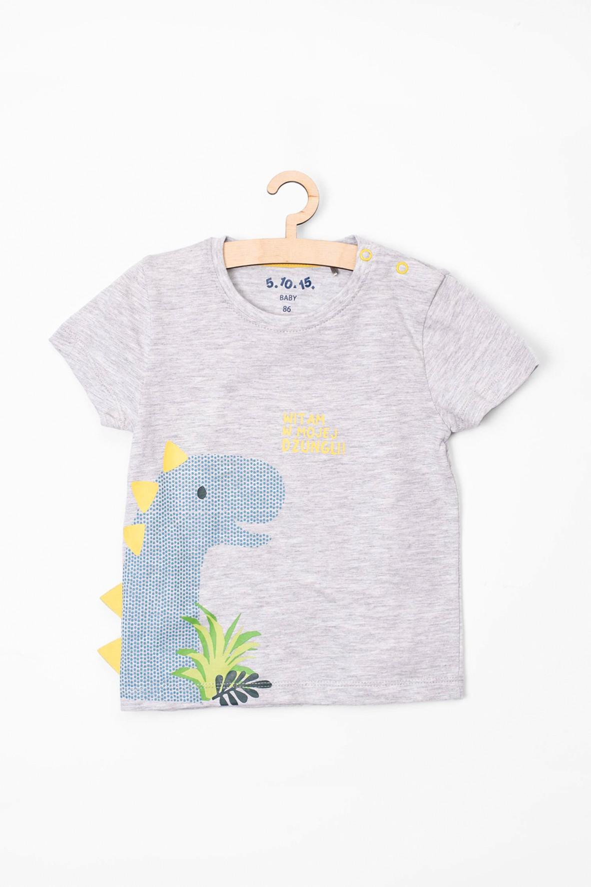 T-Shirt niemowlęcy z dinozaurem i elementami 3D