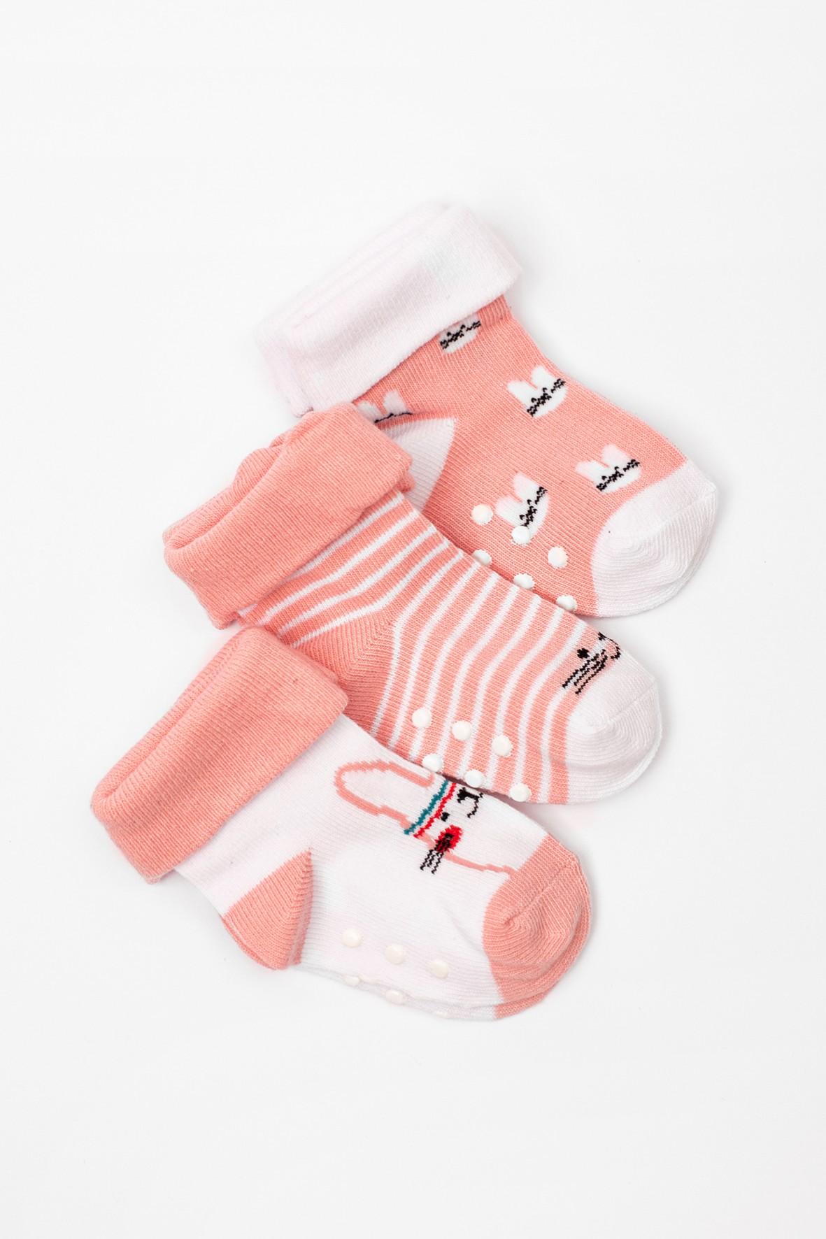 Skarpety niemowlęce 3pak różowe w króliczki