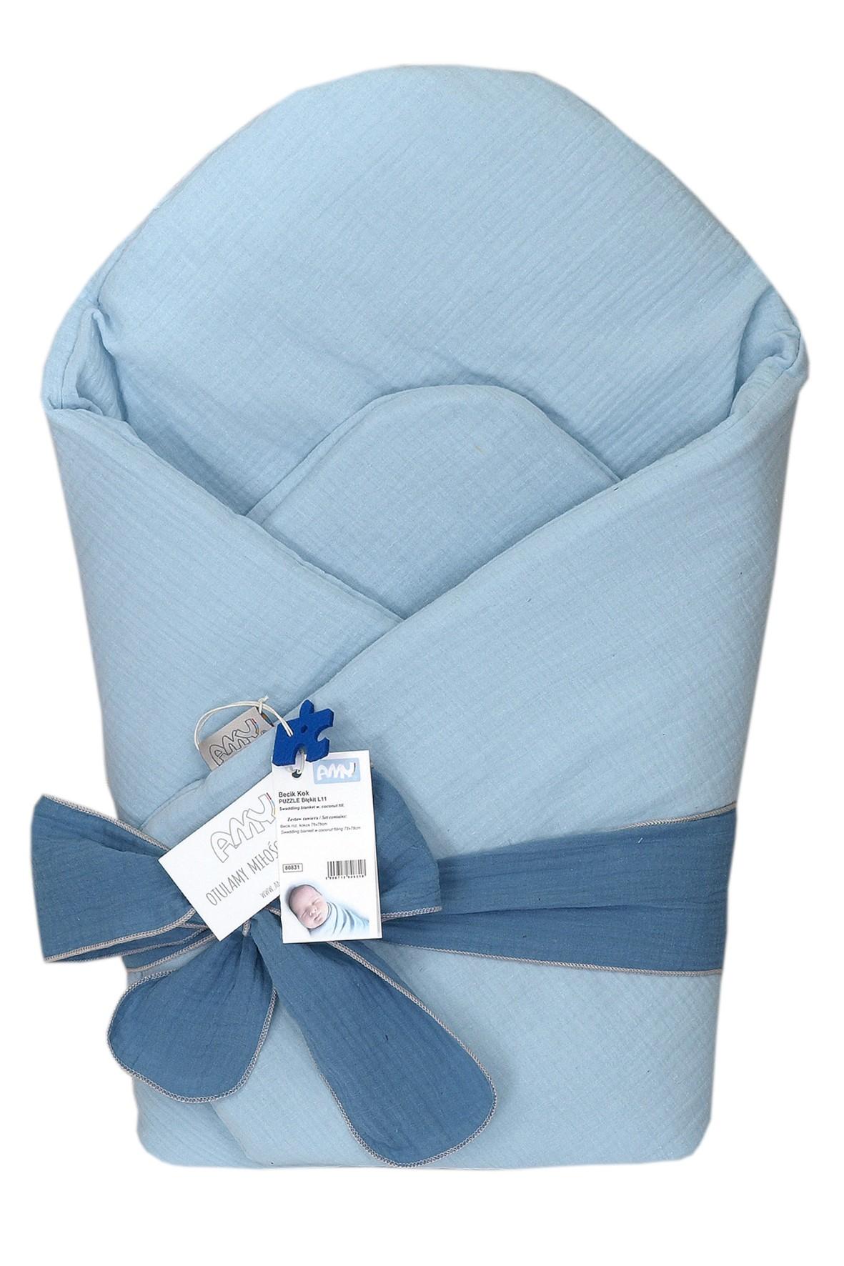 Becik niemowlęcy z usztywnieniem - niebieski