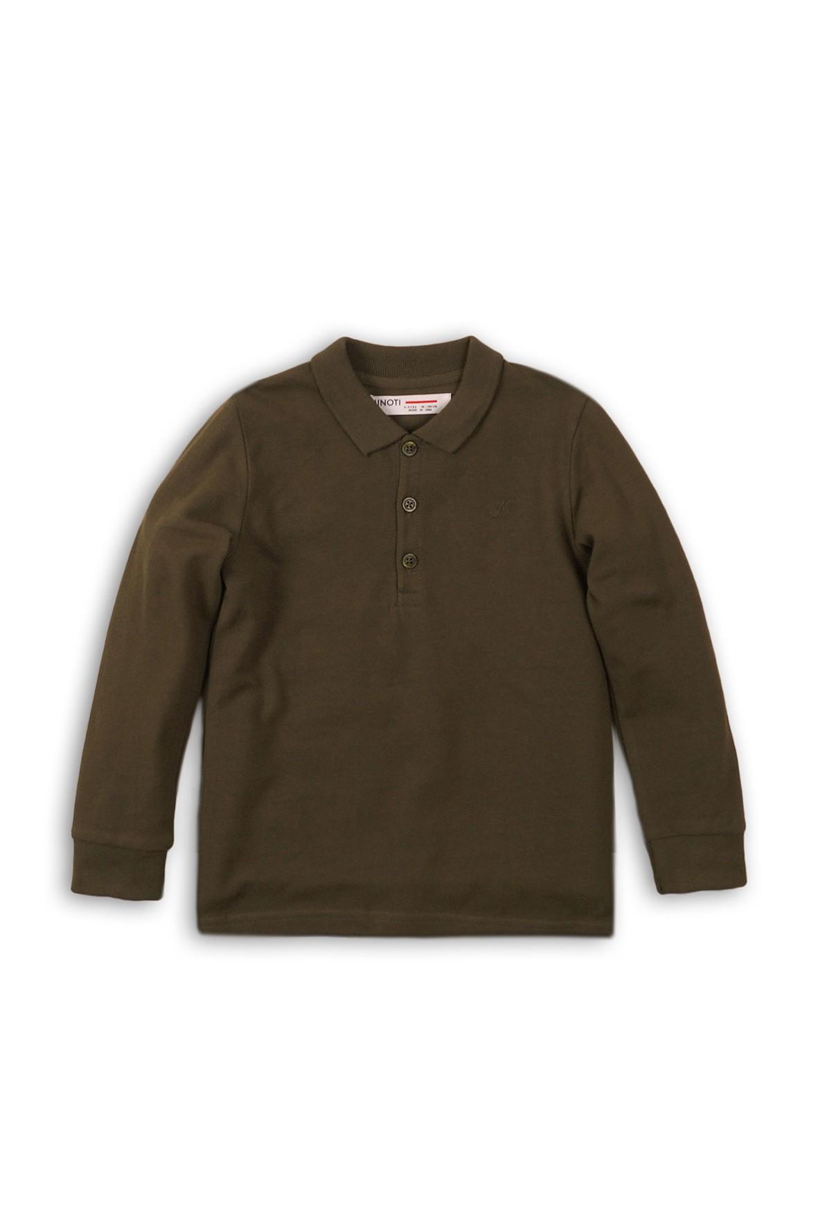 Bawełniana bluzka chłopięca z długim rękawem -brązowa rozm 92/98