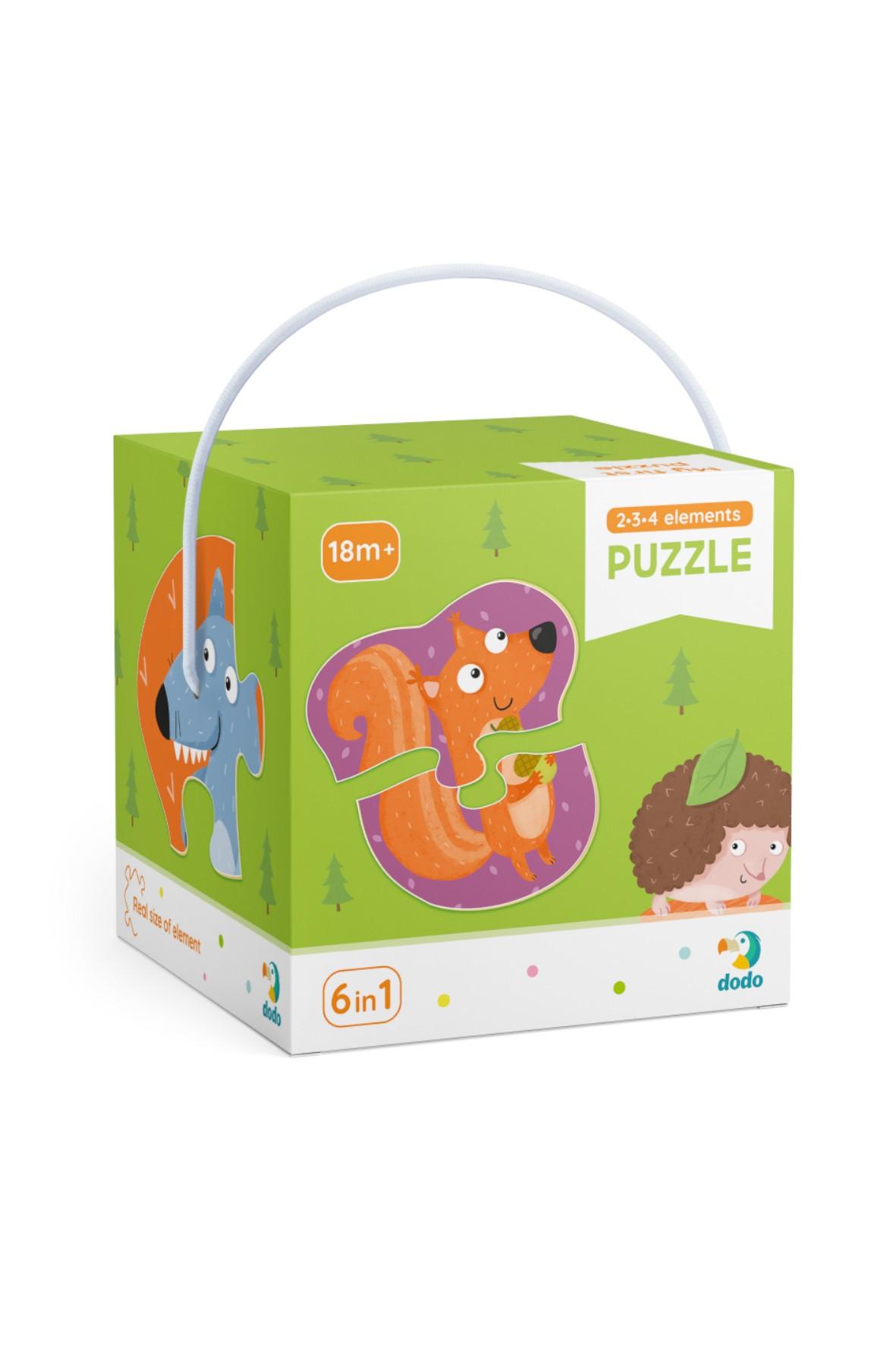 Puzzle 2-3-4 Elementy Leśne zwierzęta 18msc+