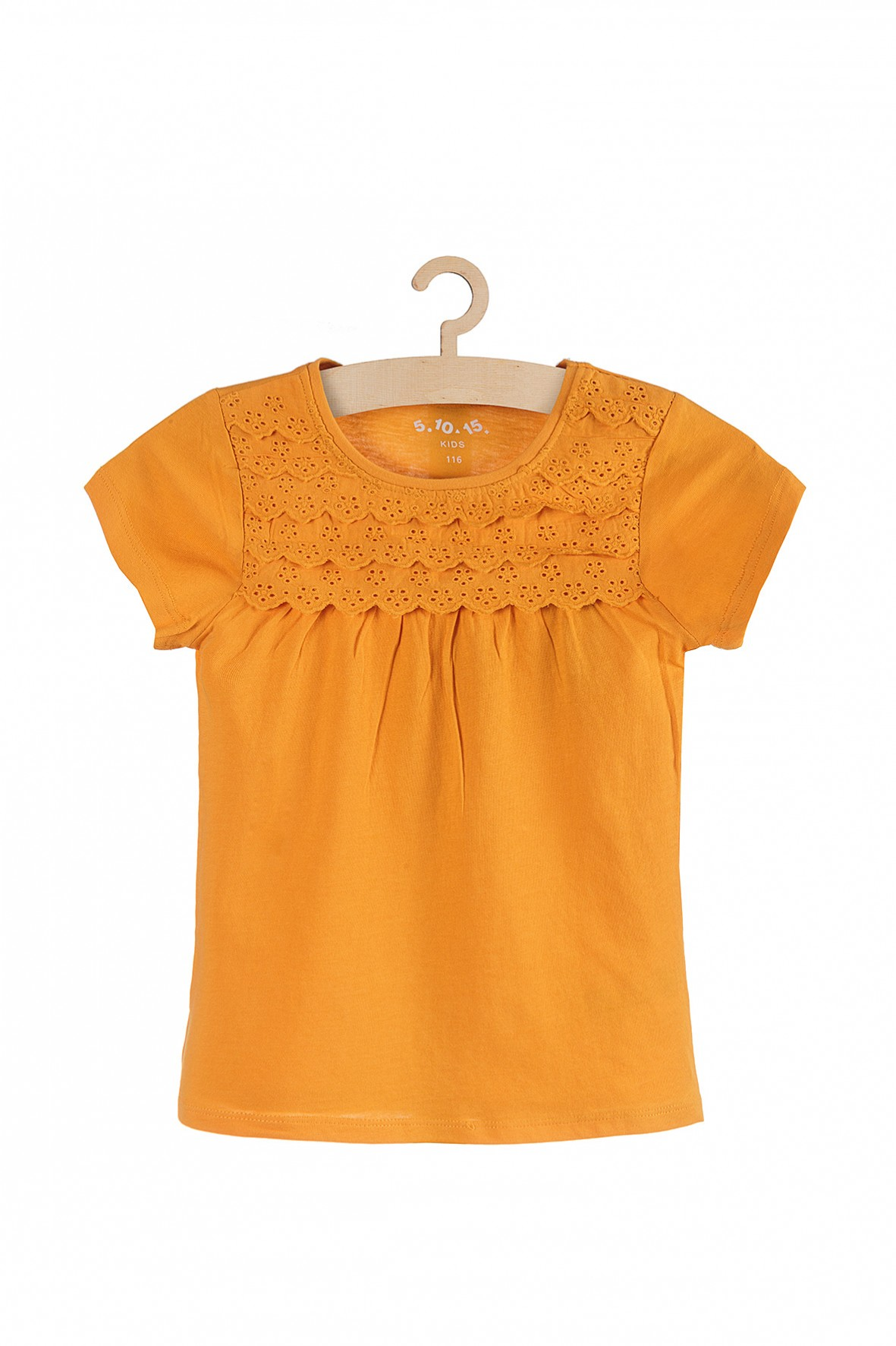 T-shirt dzianinowy z koronkową górą