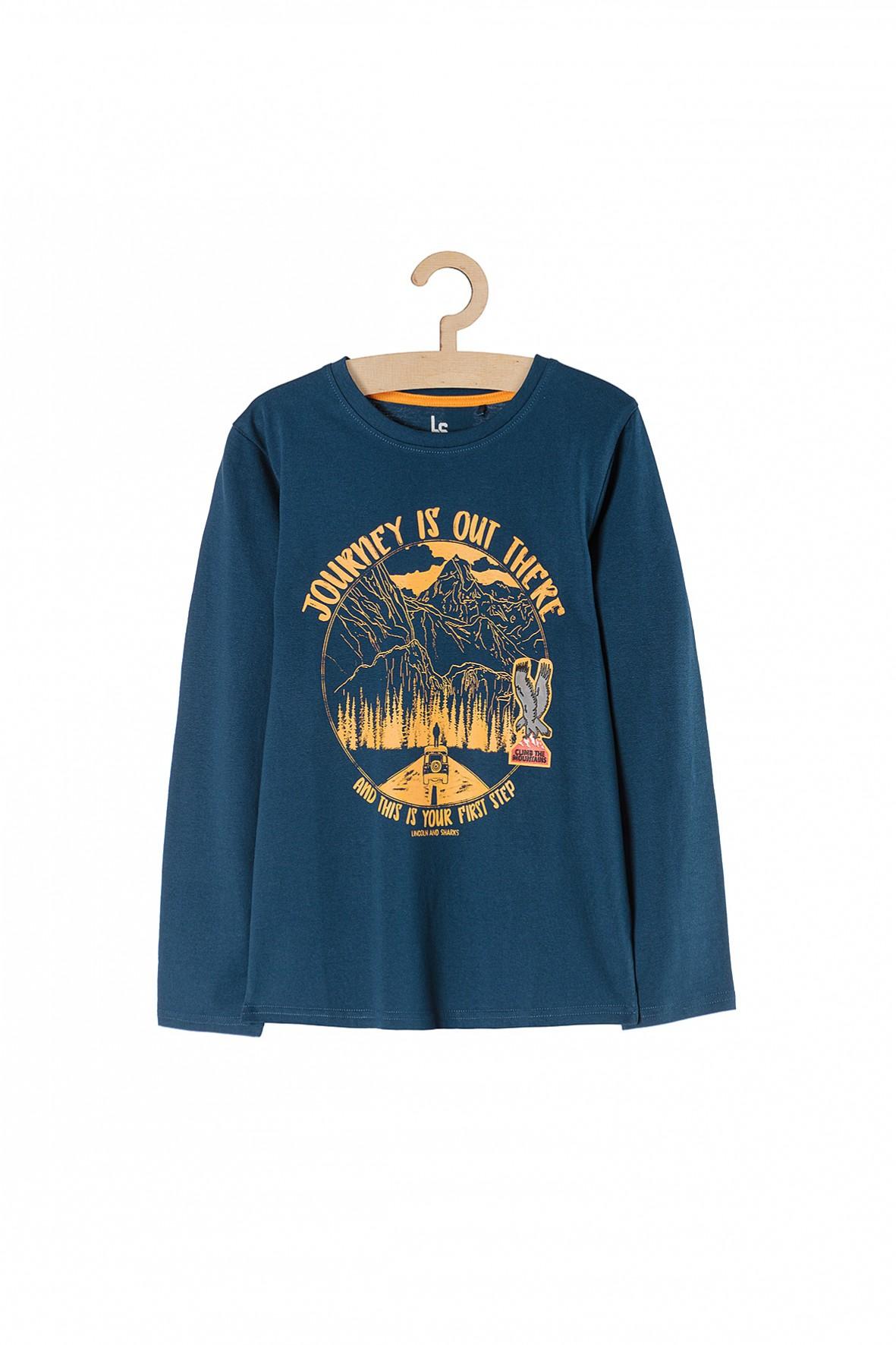 Bluzka z długim rękawem dla chłopca- niebieska z nadrukami
