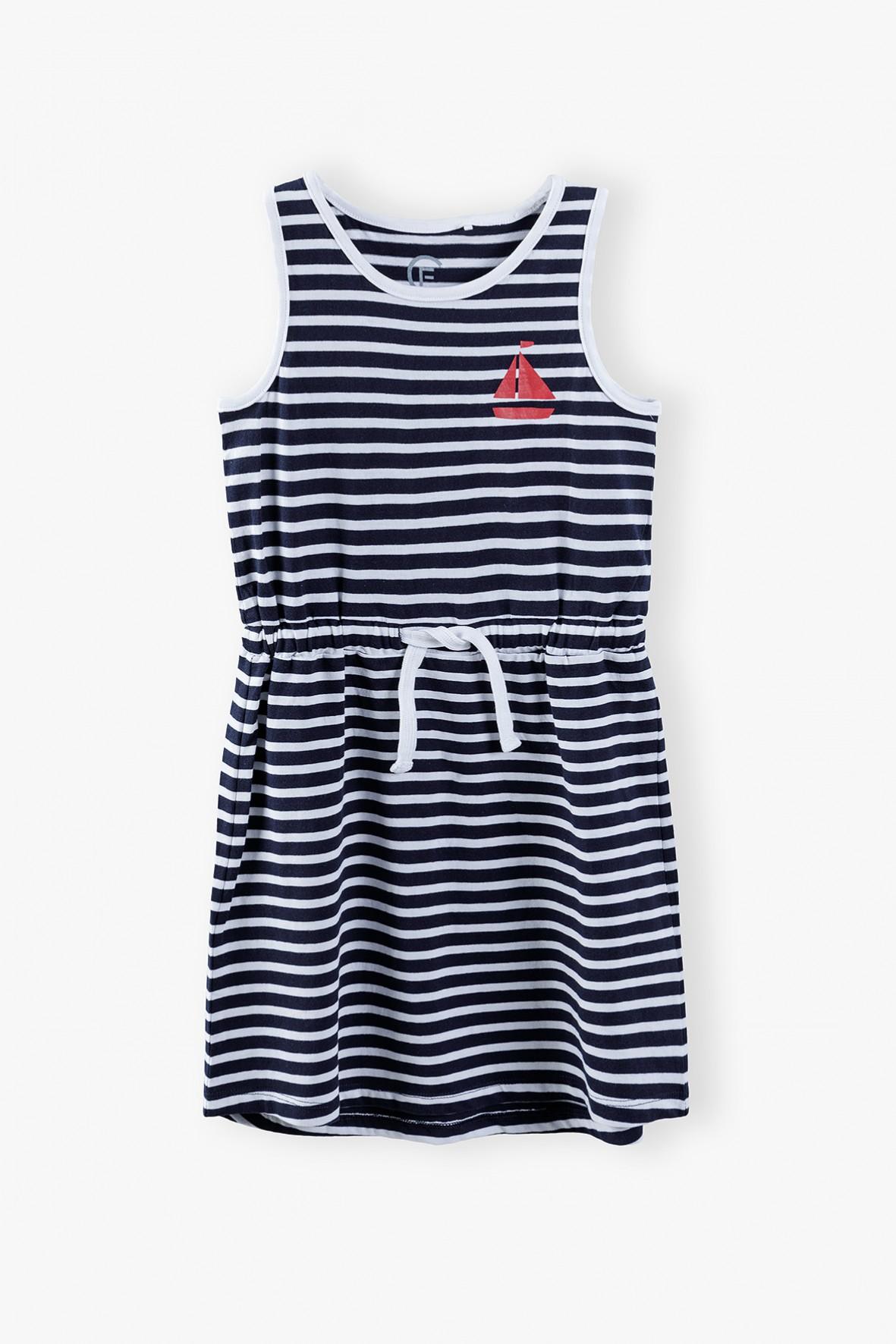 Bawełniana granatowa sukienka dziewczęca w paski- ubrania dla całej rodziny