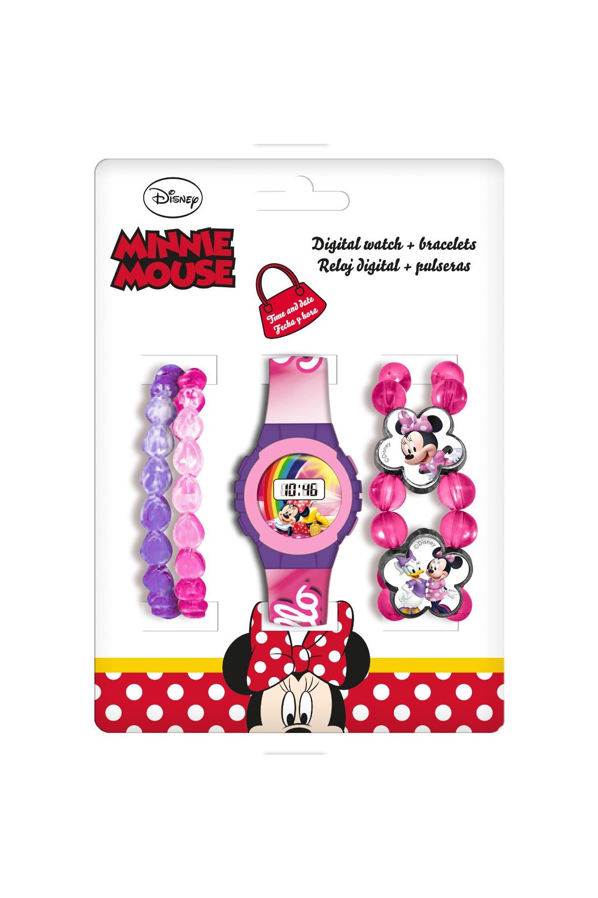 Zegarek cyfrowy dziecięcy  4 bransoletki - Myszka Minnie,