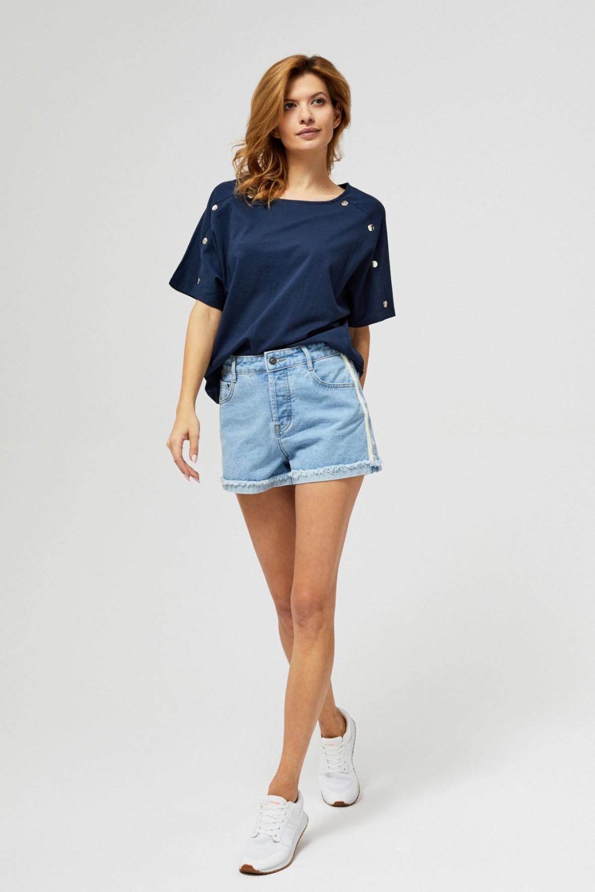 Szorty damskie jeansowe z lampasami niebieskie