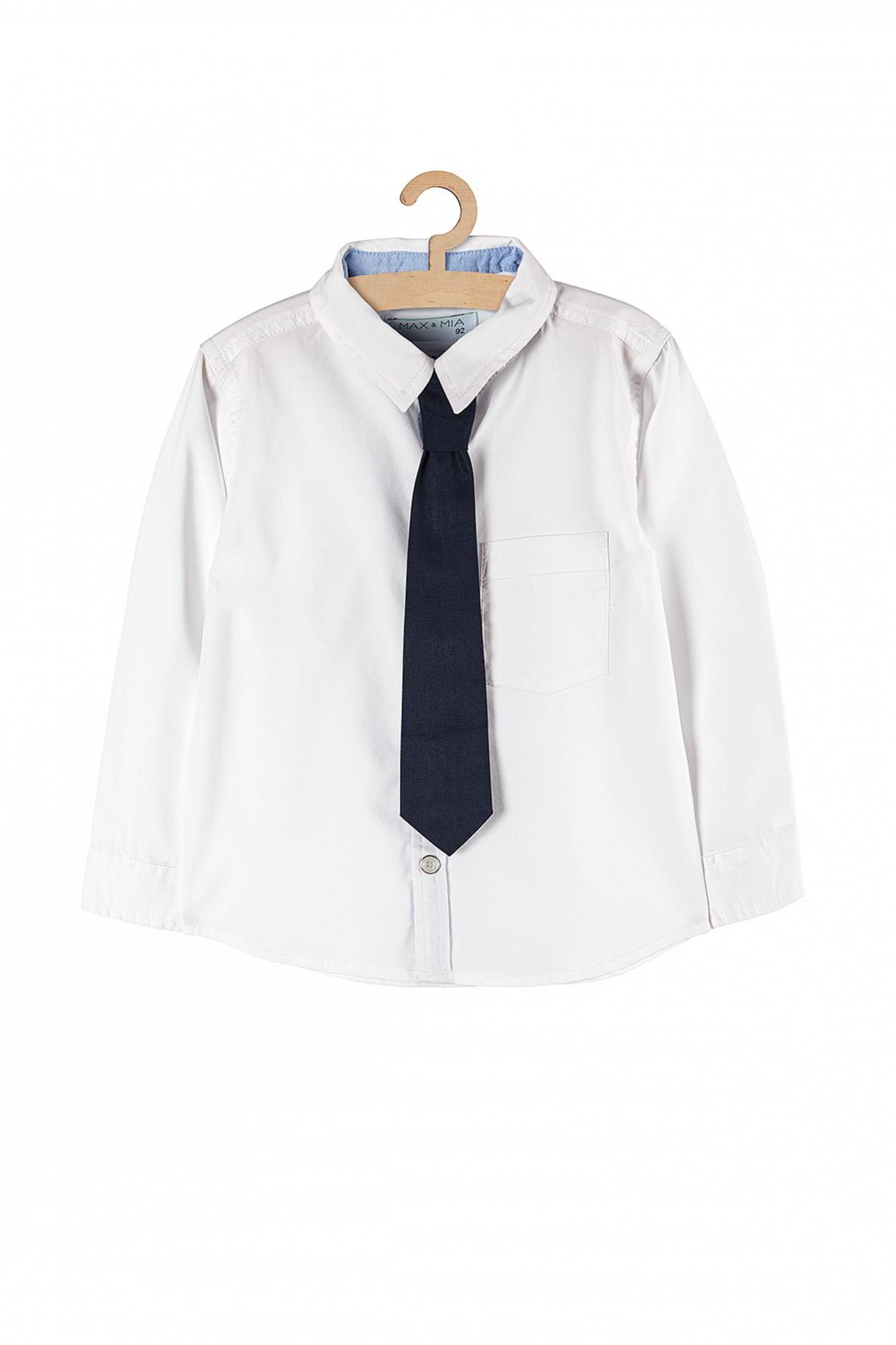 Koszula chłopięca biała z długim rękawem i krawatem