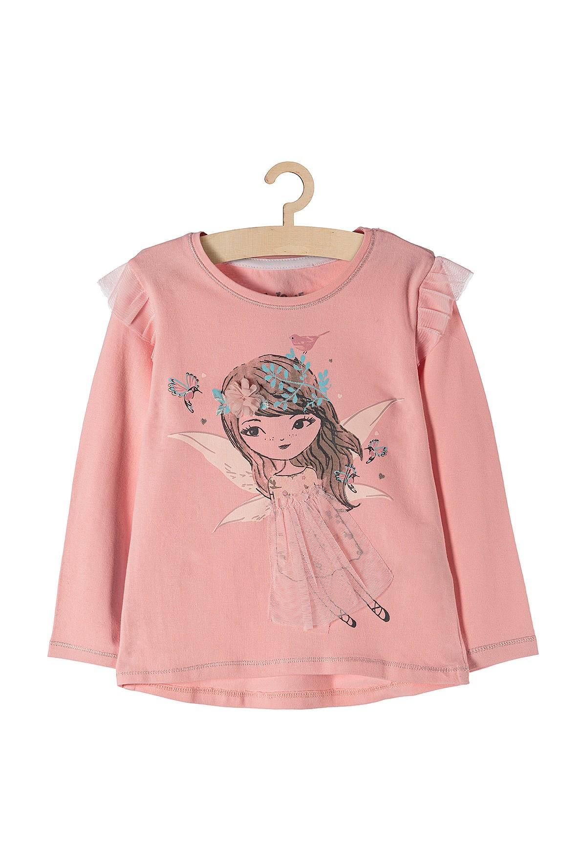 Bluzka dziewczęca różowa z tiulowymi dodatkami