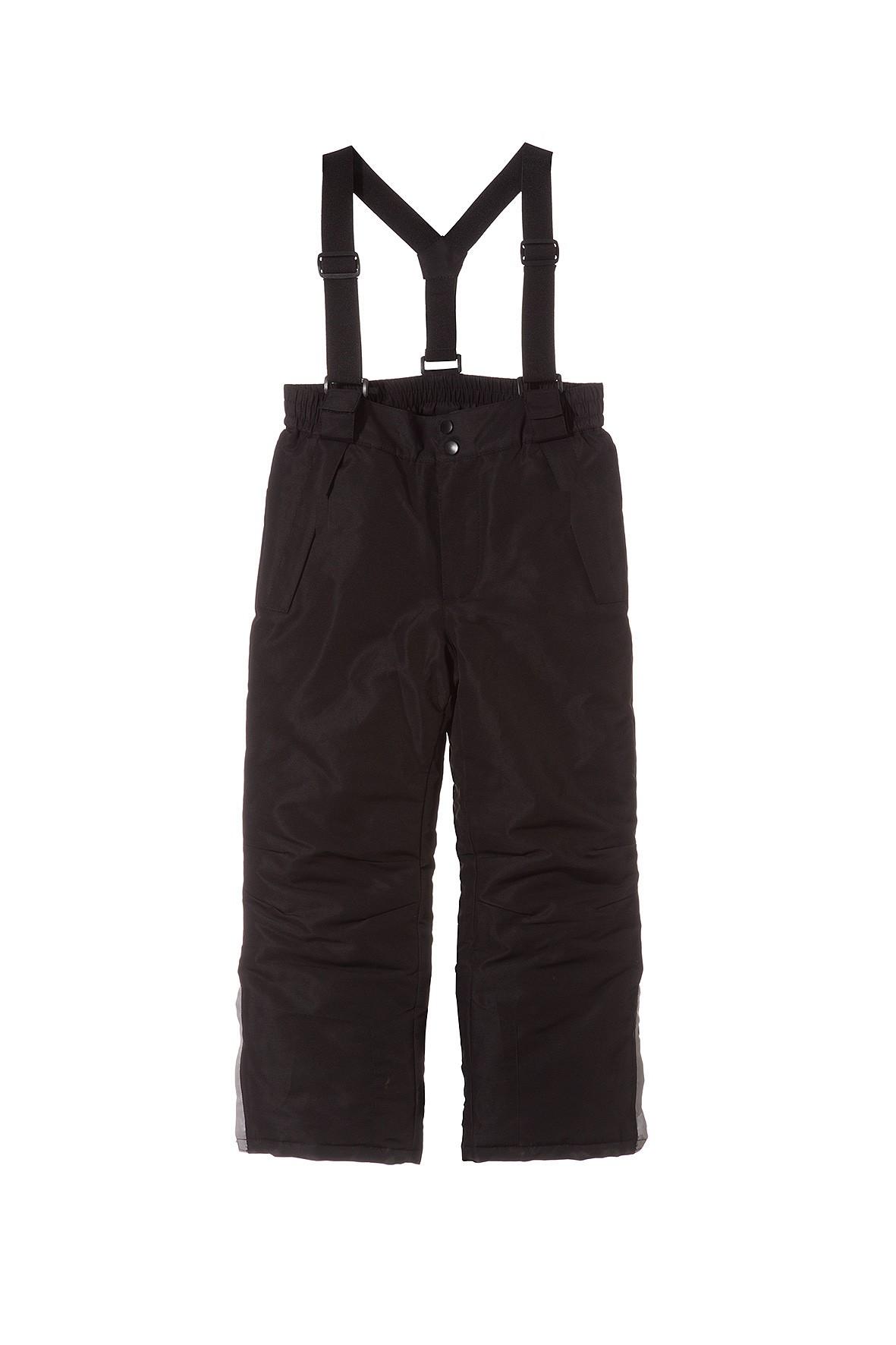Spodnie narciarskie dziewczęce- czarne z elementami odblaskowymi