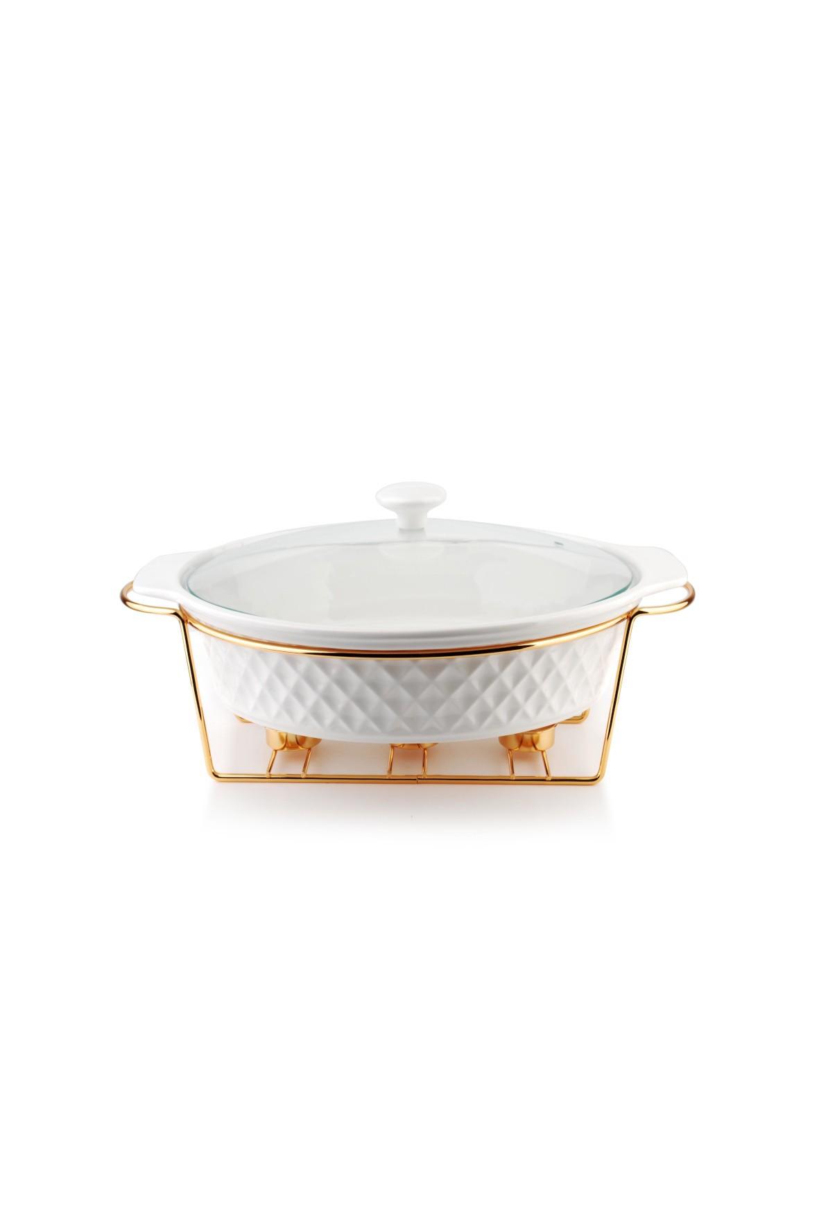Naczynie z podgrzewaczem i pokrywą owalne DIAMENT GOLD 2,6 litra