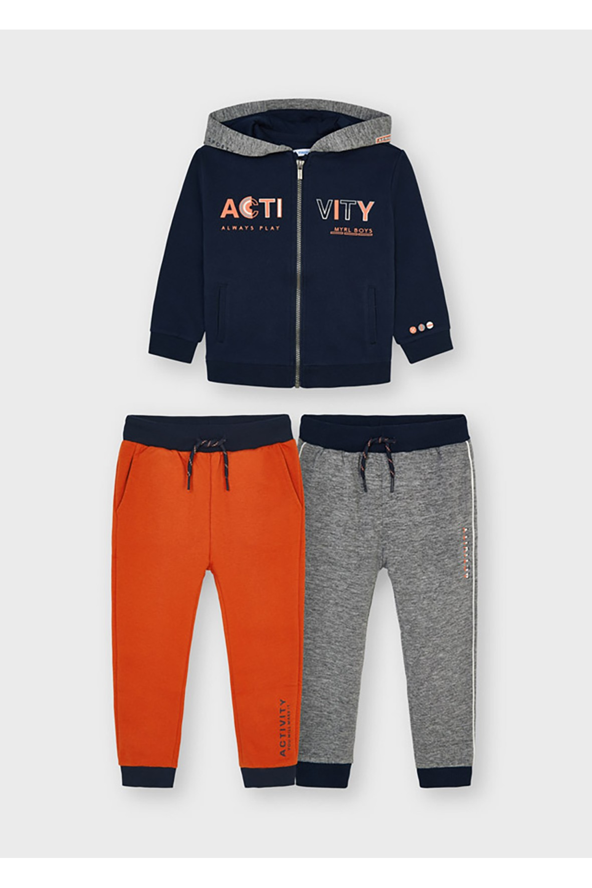 Komplet dresowy 3 częściowy Mayoral - bluza z kapturem i 2 x spodnie dresowe