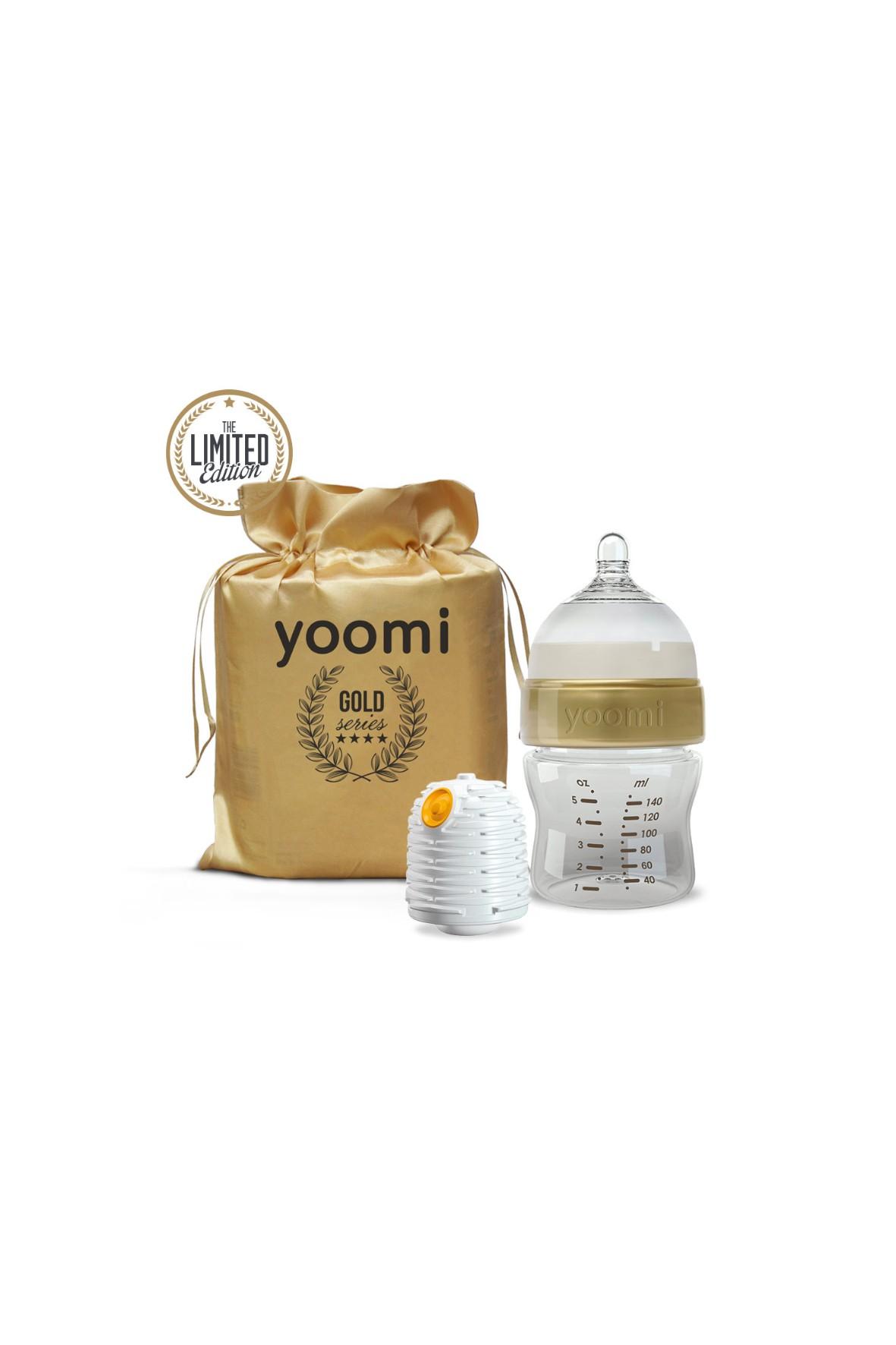Butelka z podgrzewaczem Yoomi Gold&Black 140ml