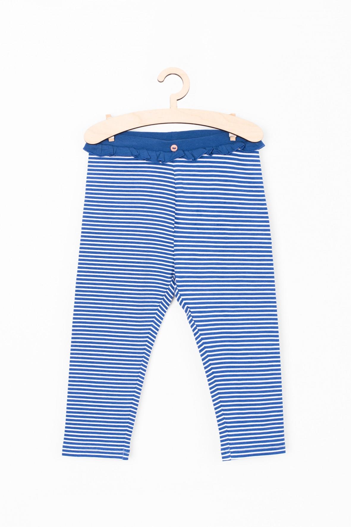 Leginsy niemowlęce w biało- niebieskie paski- miękkie i wygodne