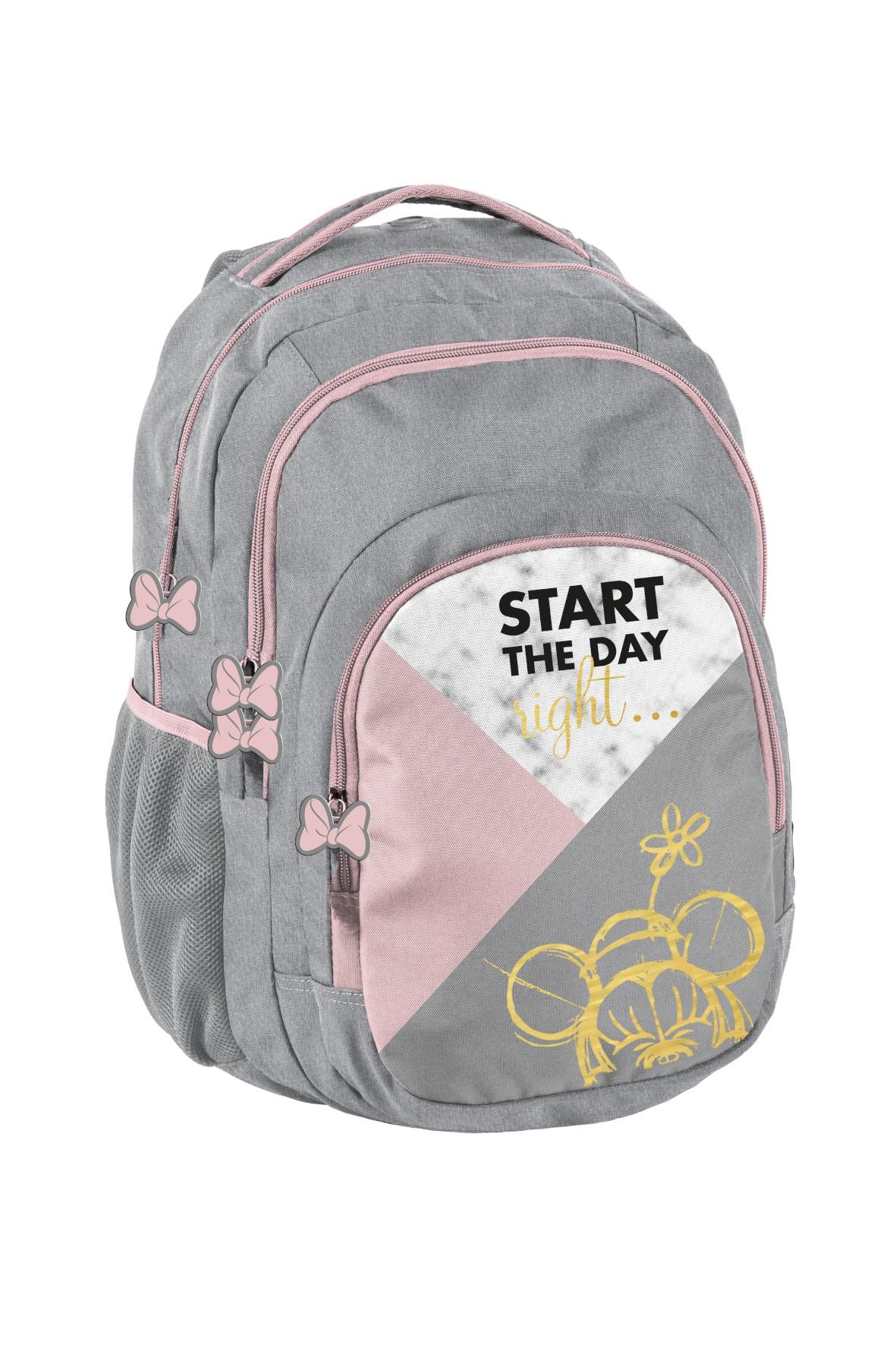 Plecak młodzieżowy, szkolny Minnie szary
