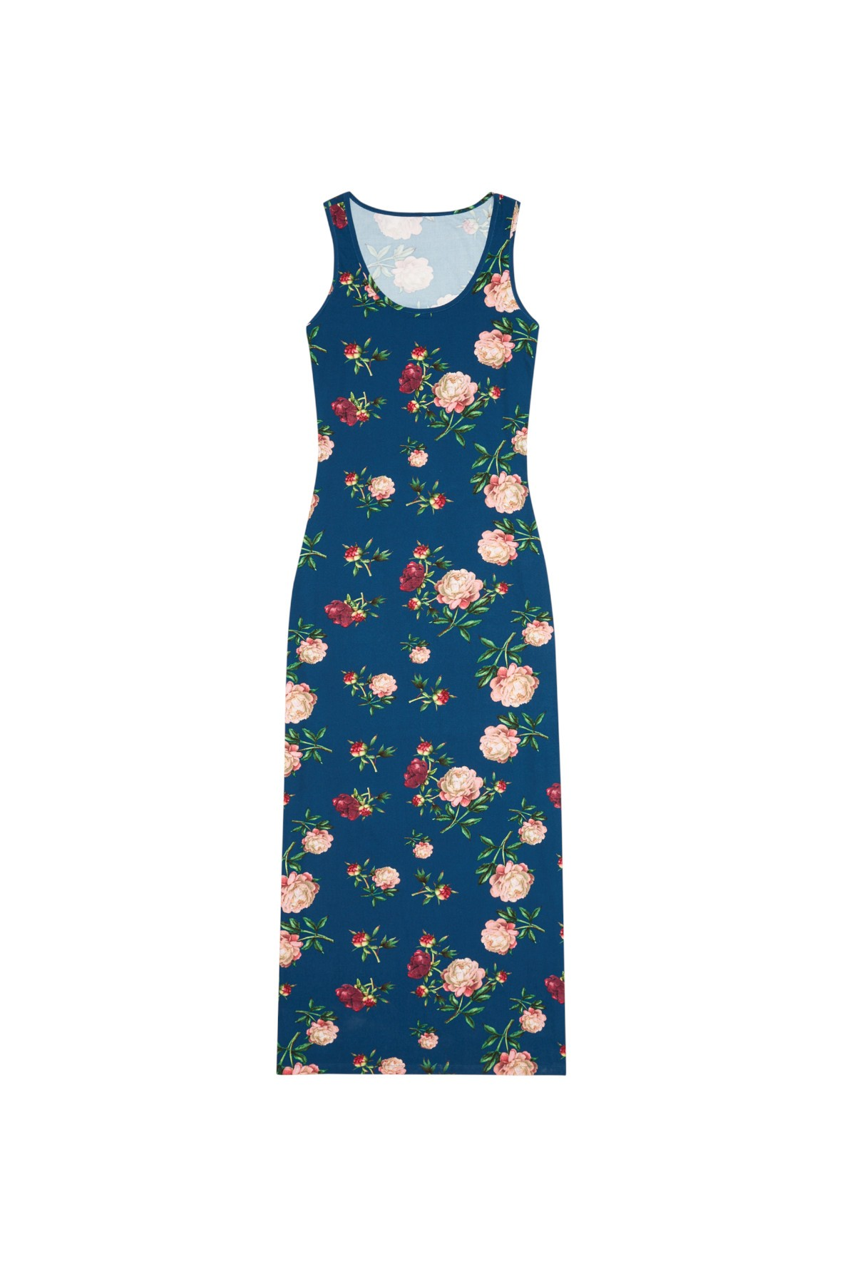 Granatowa sukienka na grubych ramiączkach w kwiatowy wzór maxi