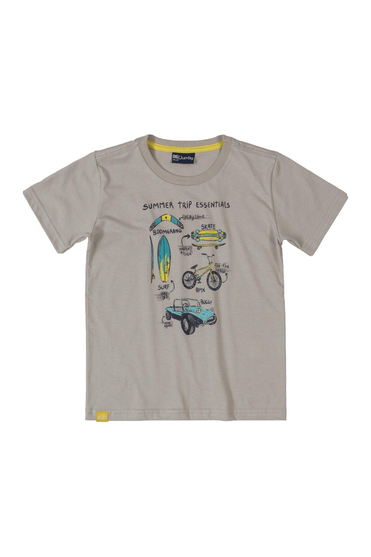 Szary t-shirt chłopięcy z nadrukiem