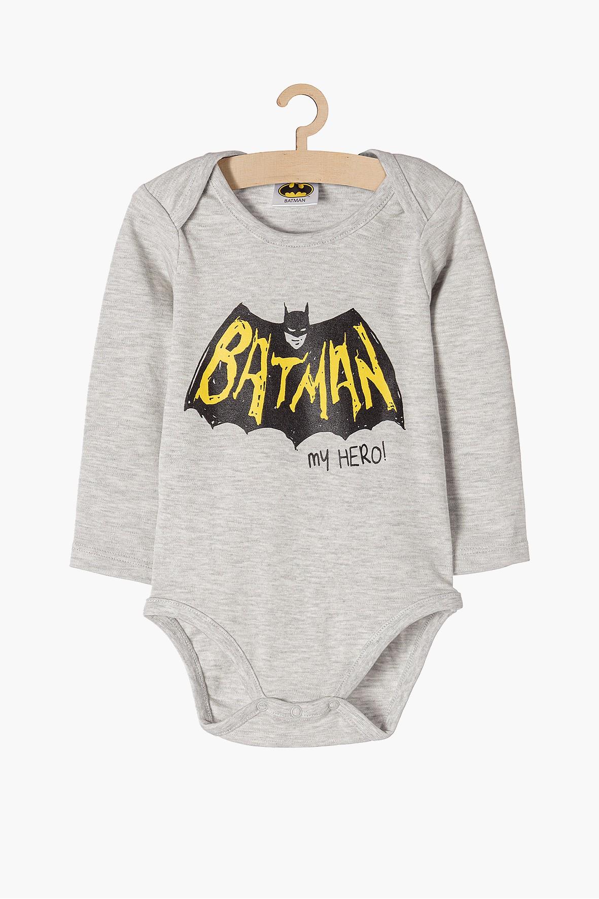 Body dla niemowlaka szare z długim rękawem Batman