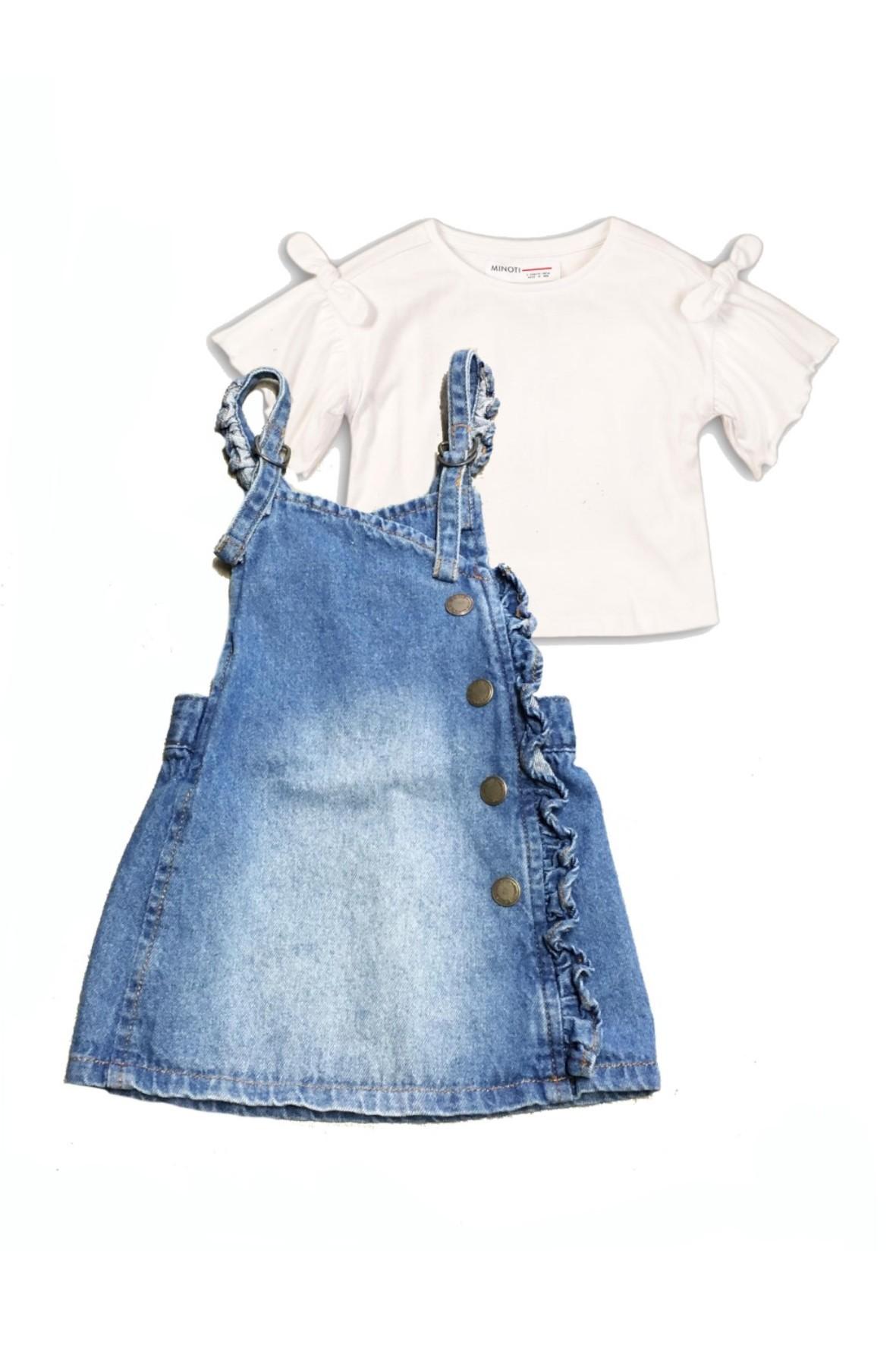 Komplet dziewczęcy koszulka + spódniczka ogrodniczka