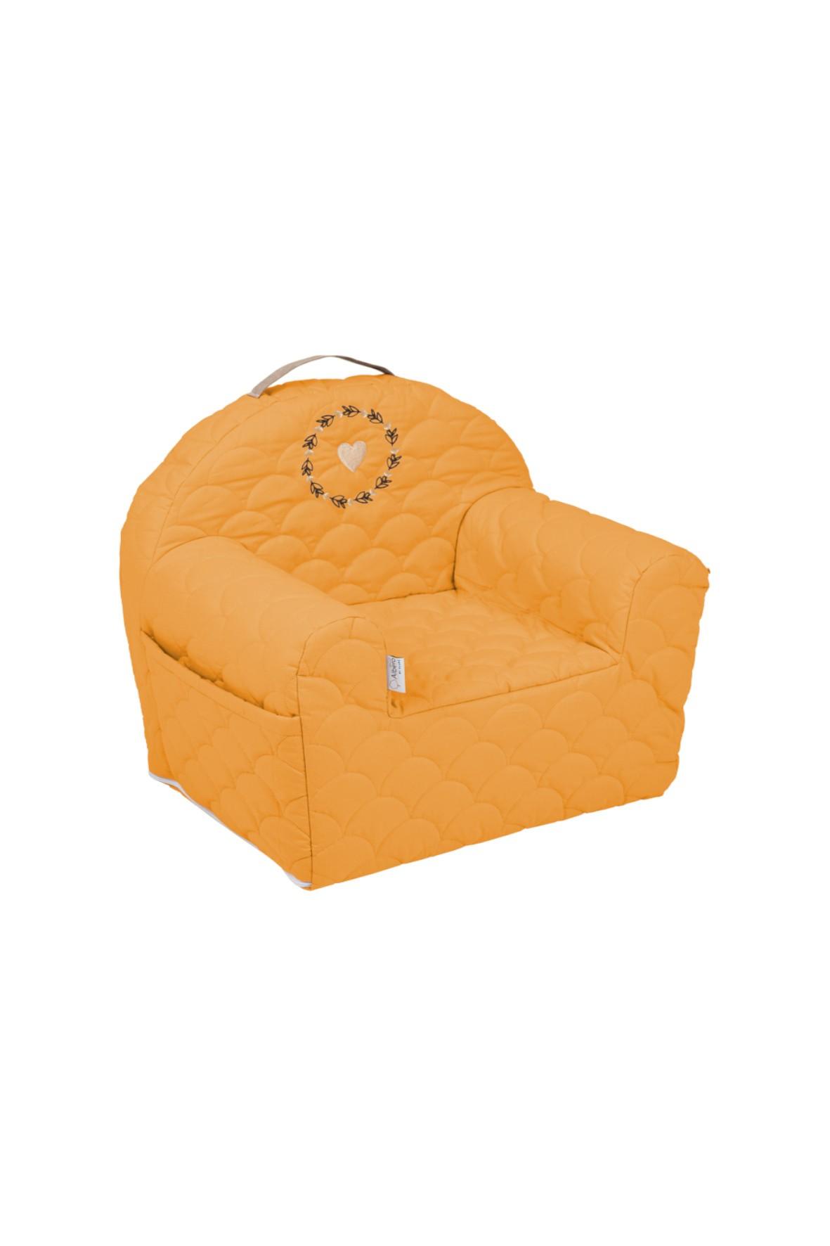 Bawełniany fotelik piankowy w kolorze musztardowym - 50x35x45 cm