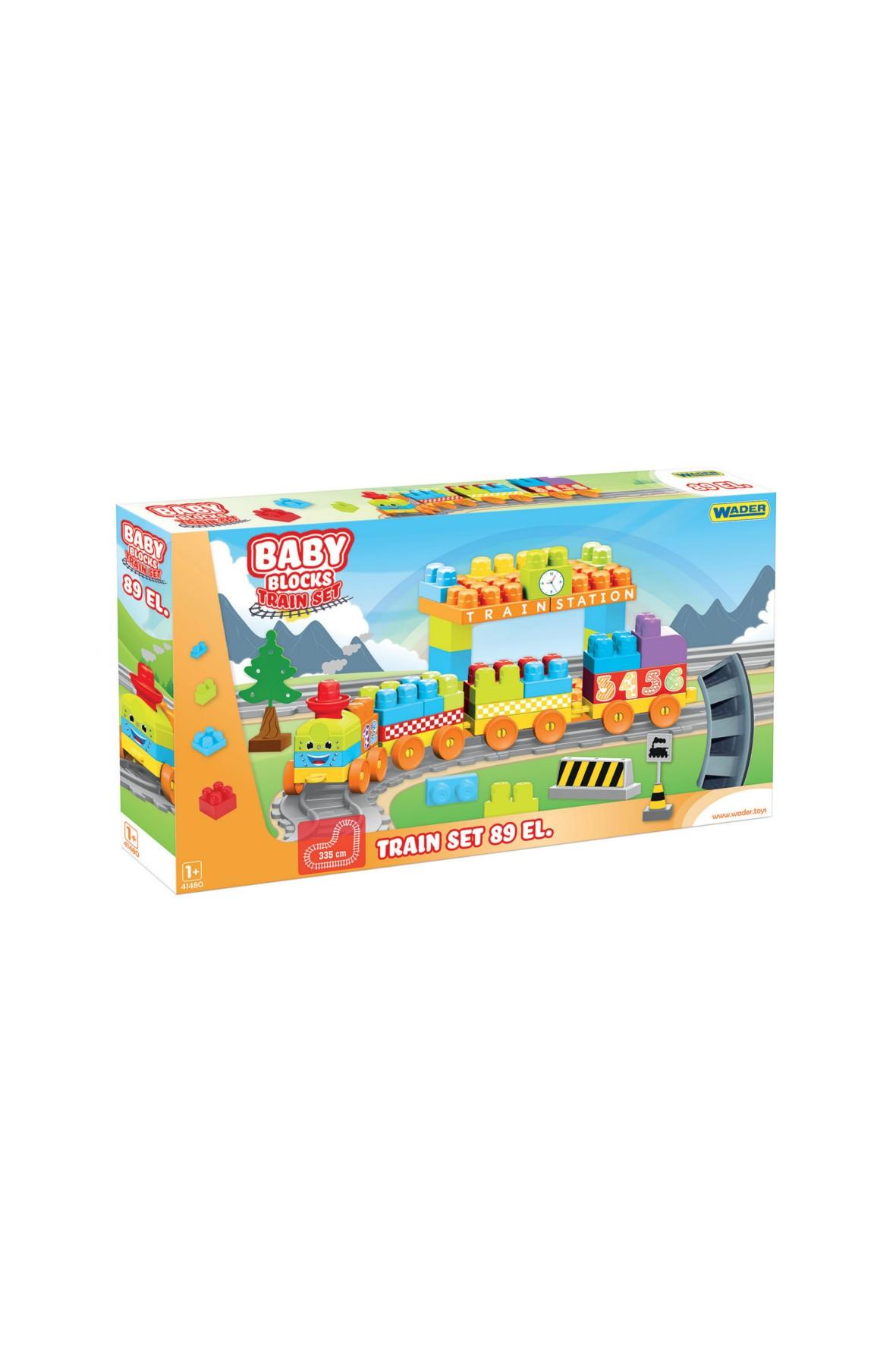 Pierwsze klocki Baby Blocks Railway Kolejka- 89el 12msc+