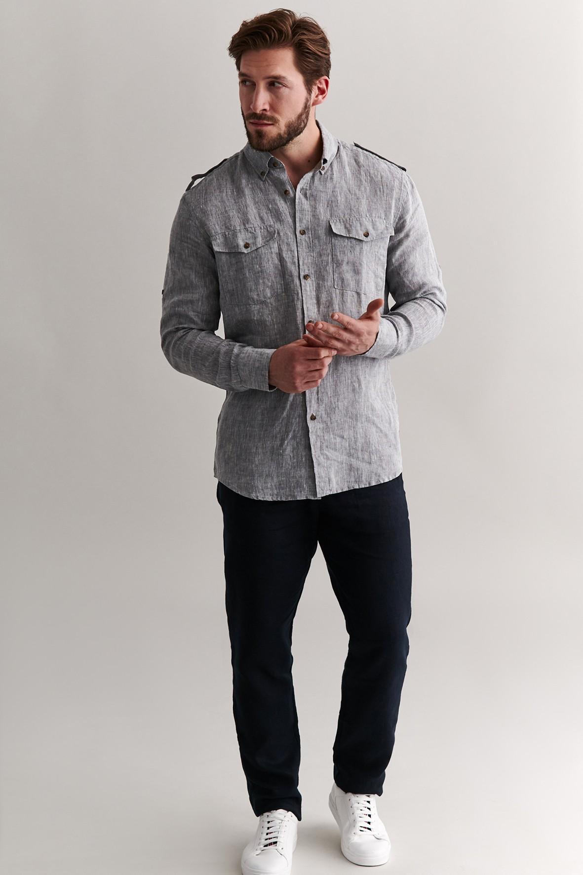 Lniana koszula męska z dwoma kieszonkami - szara