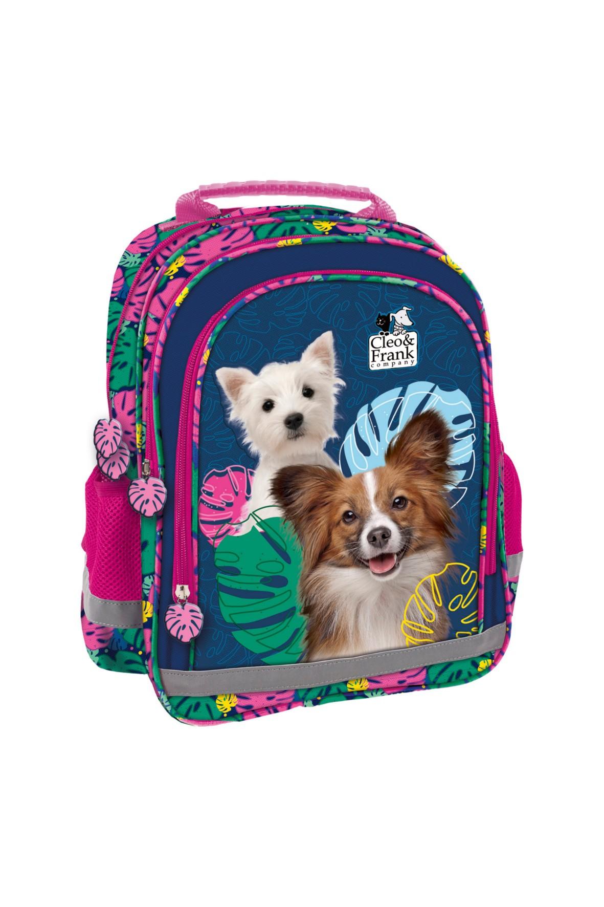 Plecak do szkoły dziewczęcy z odblaskami Cleo i Frank
