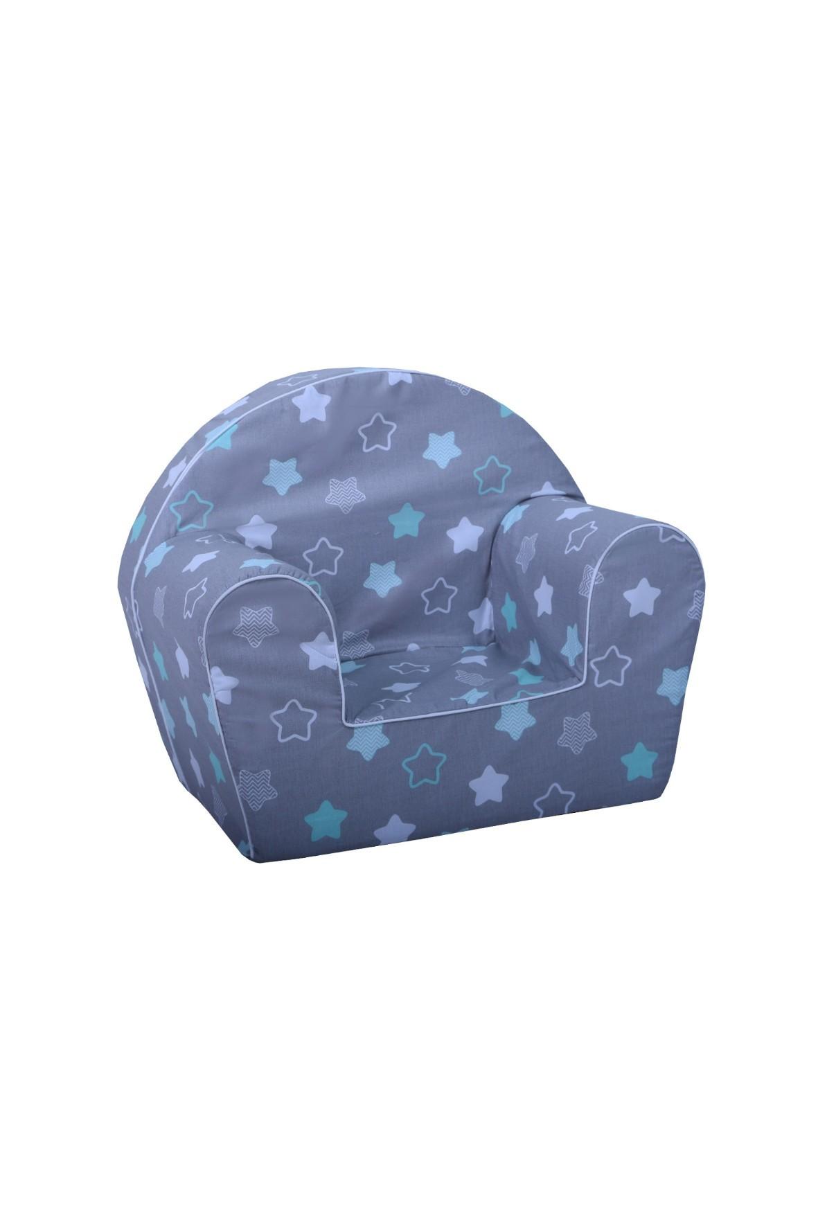 Ciemno niebieski fotelik w gwiazdki