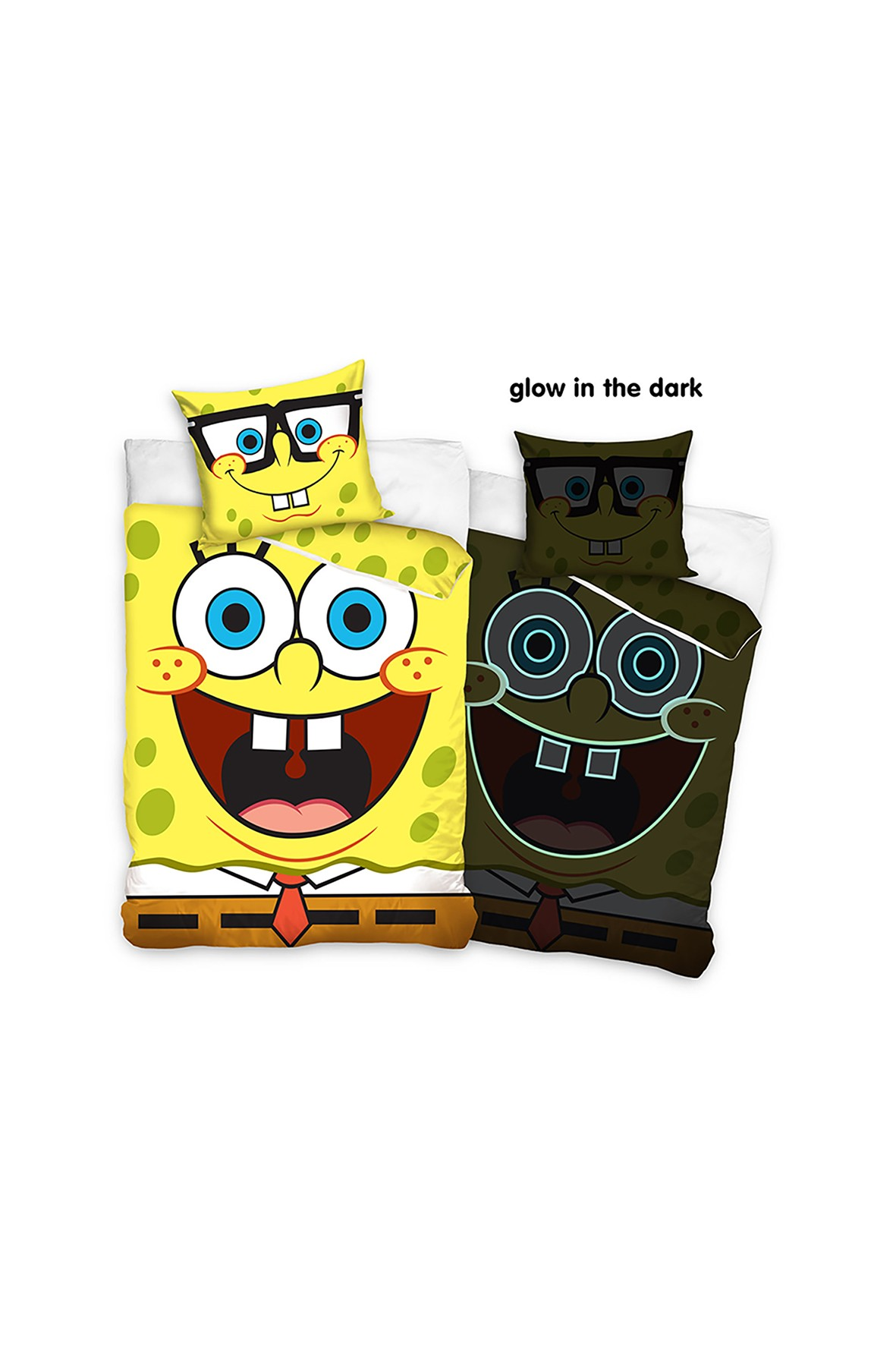 Komplet pościeli bawełnianej SpongeBob 140x200+70x90 cm