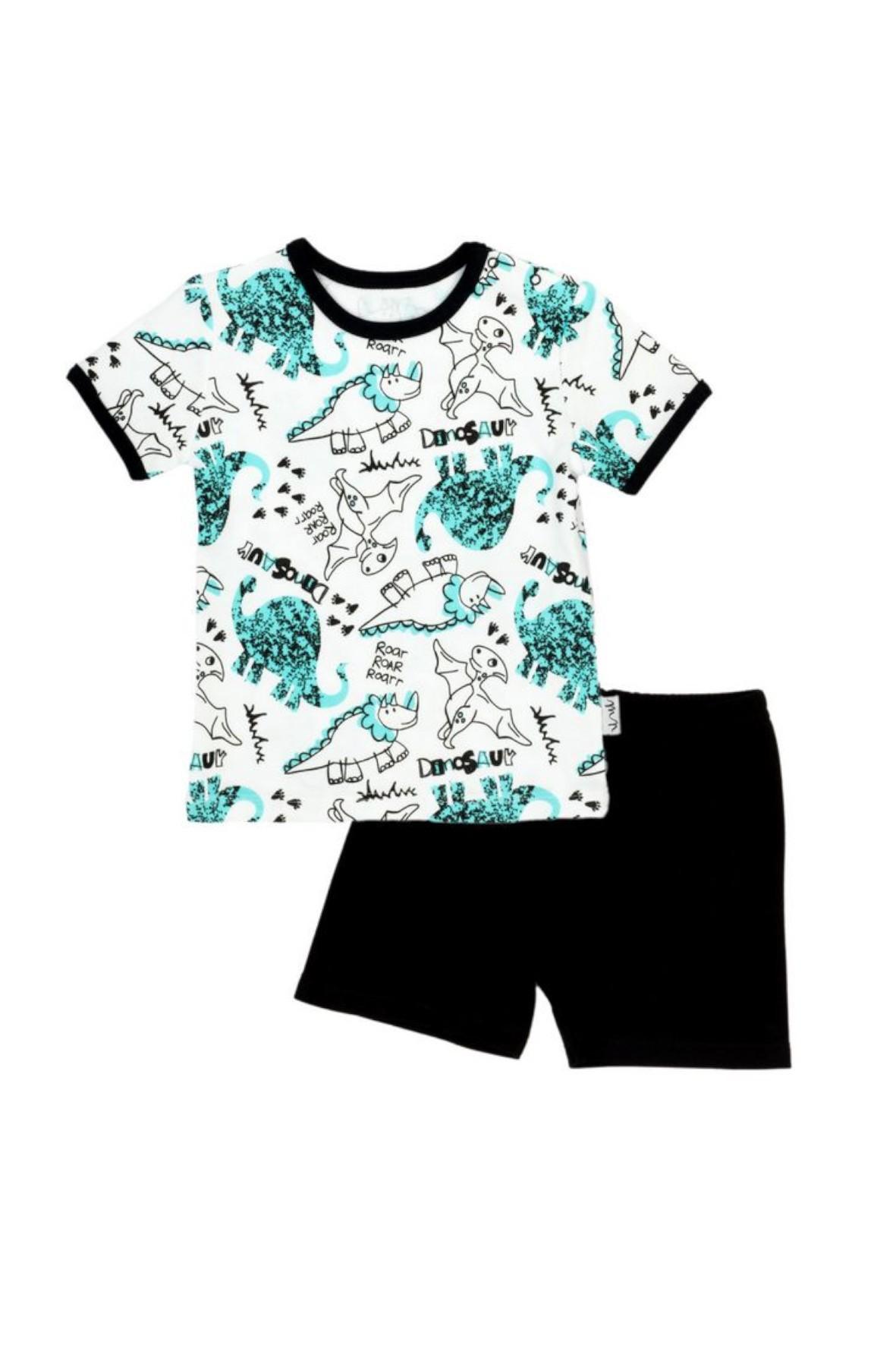 Piżama chłopięca koszulka i spodenki w dinozaury