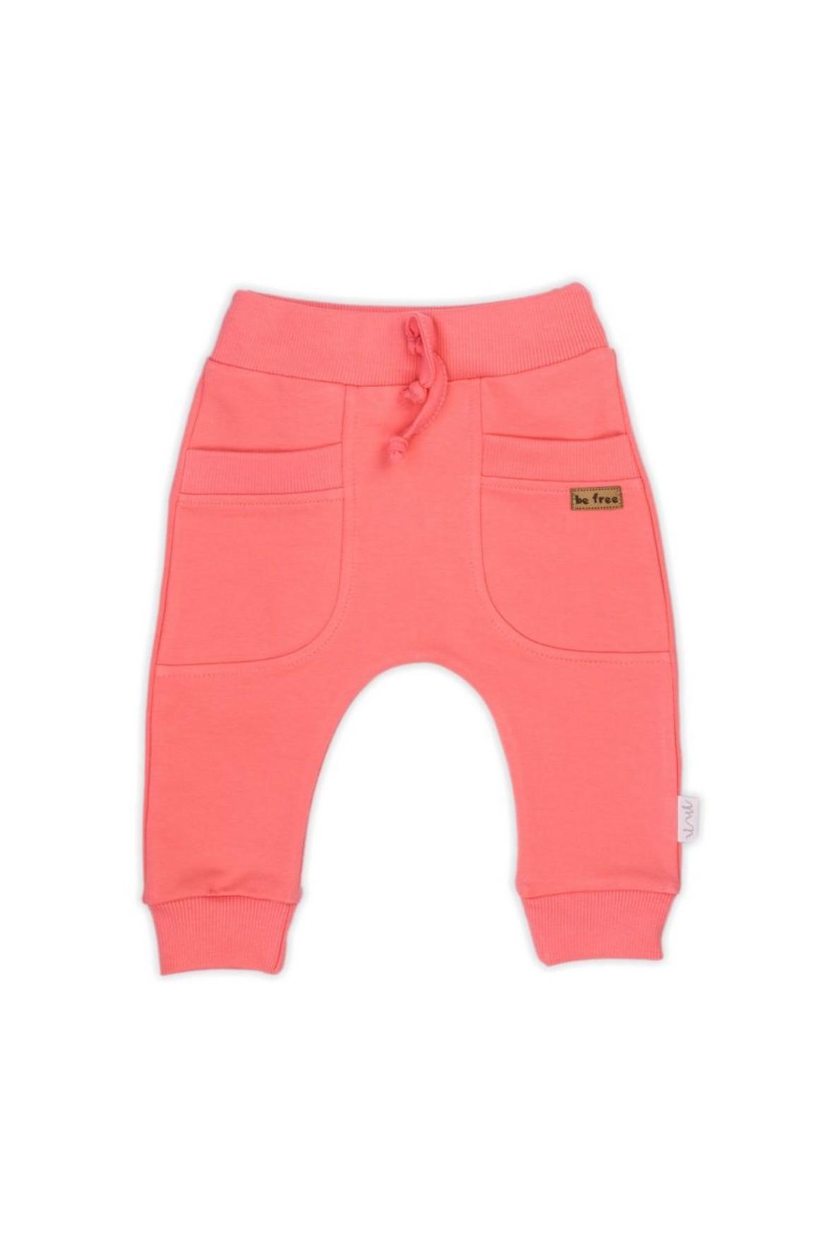 Spodnie dresowe dla dziewczynki uszyte z koralowej bawełny