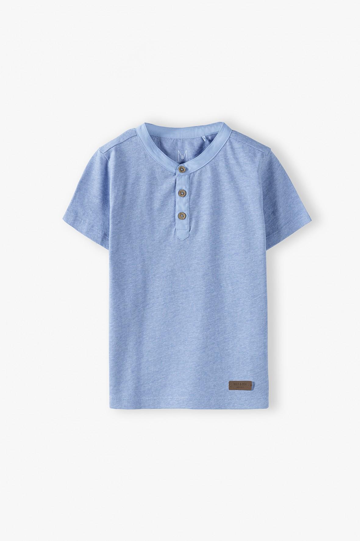 Bawełniany t-shirt chłopięcy niebieski