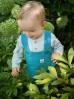 Spodnie niemowlęce ogrodniczki Little Car - turkusowe