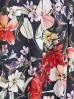 Granatowa bluzka damska w kwiaty- odkryte ramiona
