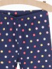 Granatowe leginsy dziewczęce w kolorowe kropki