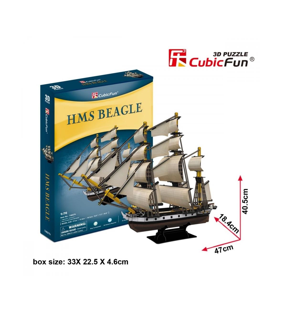 Puzzle 3D Żaglowiec HMS Beagle 168 elementów